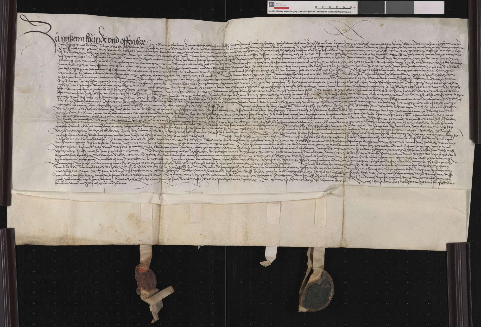 Vergleich zwischen dem Basler Domkapitel und der Abtei Schuttern über einen Zehnt zu Opfingen., Bild 1