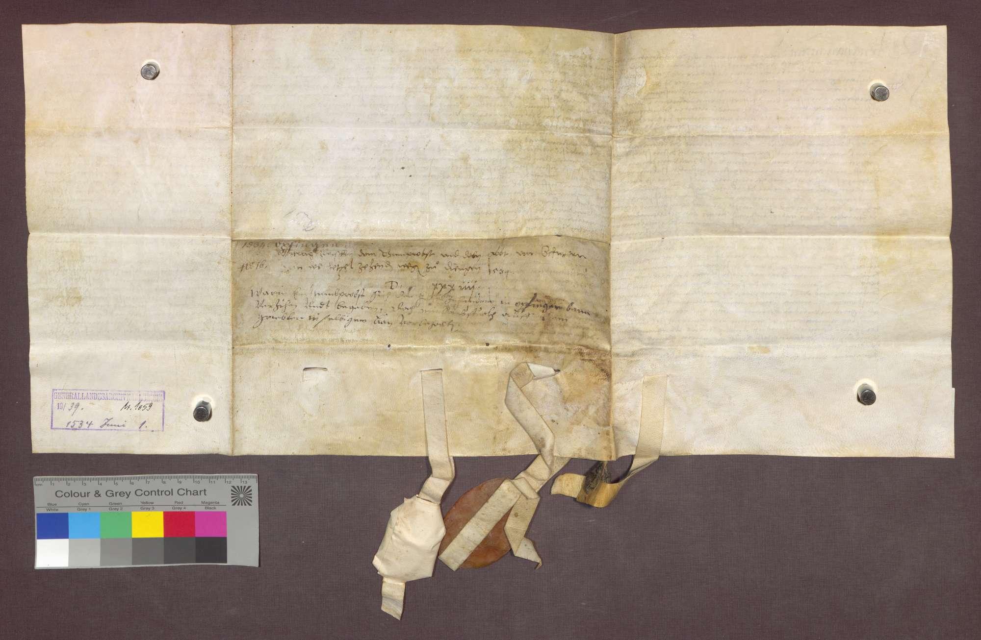 Vergleich zwischen dem Basler Domkapitel und dem Kloster Schuttern über einen Zehnt zu Opfingen., Bild 2