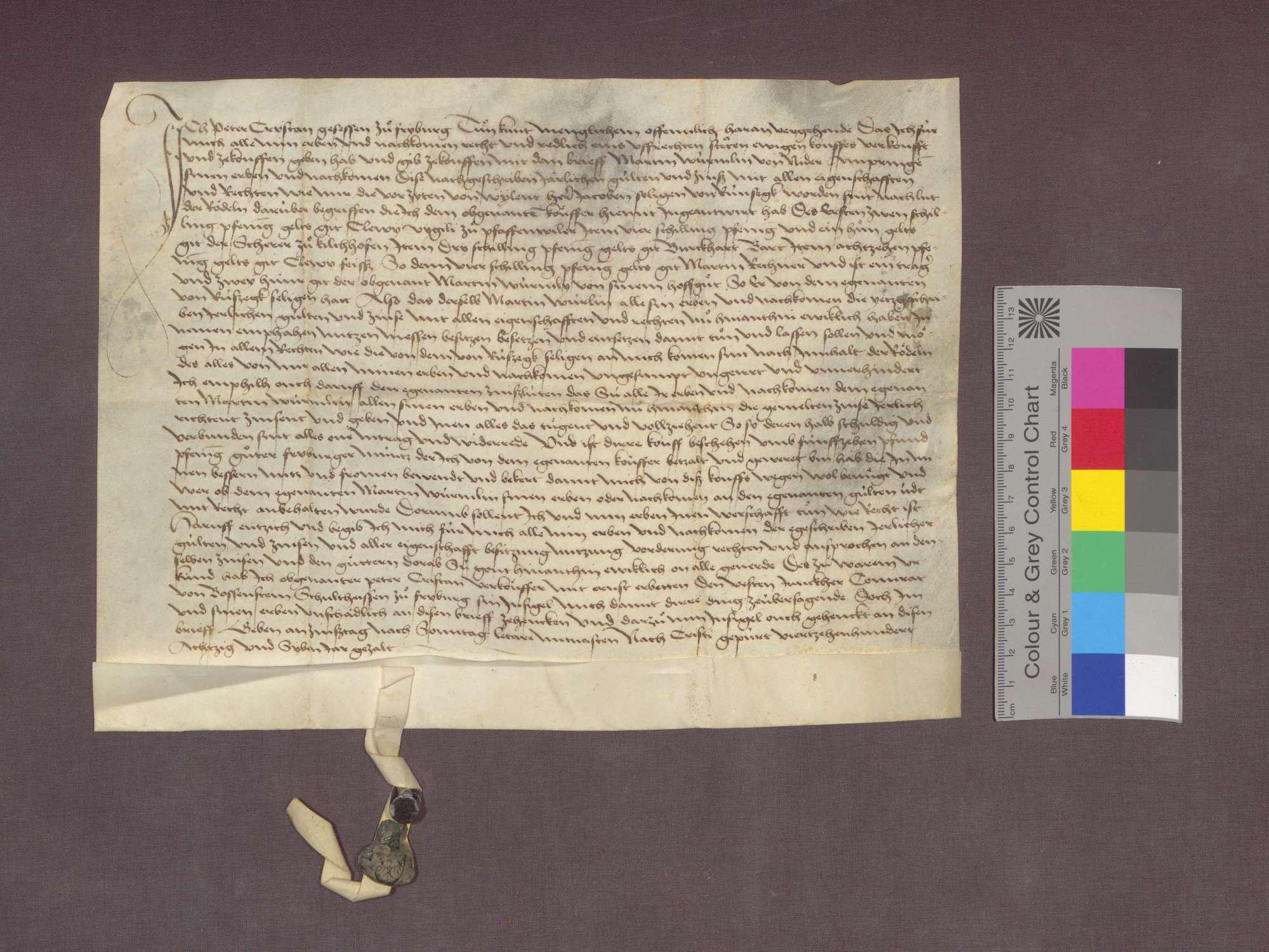 Peter Crystan zu Freiburg verkauft an Martin Würmlin zu Niederambringen Gülten zu Pfaffenweiler und Kirchhofen., Bild 1