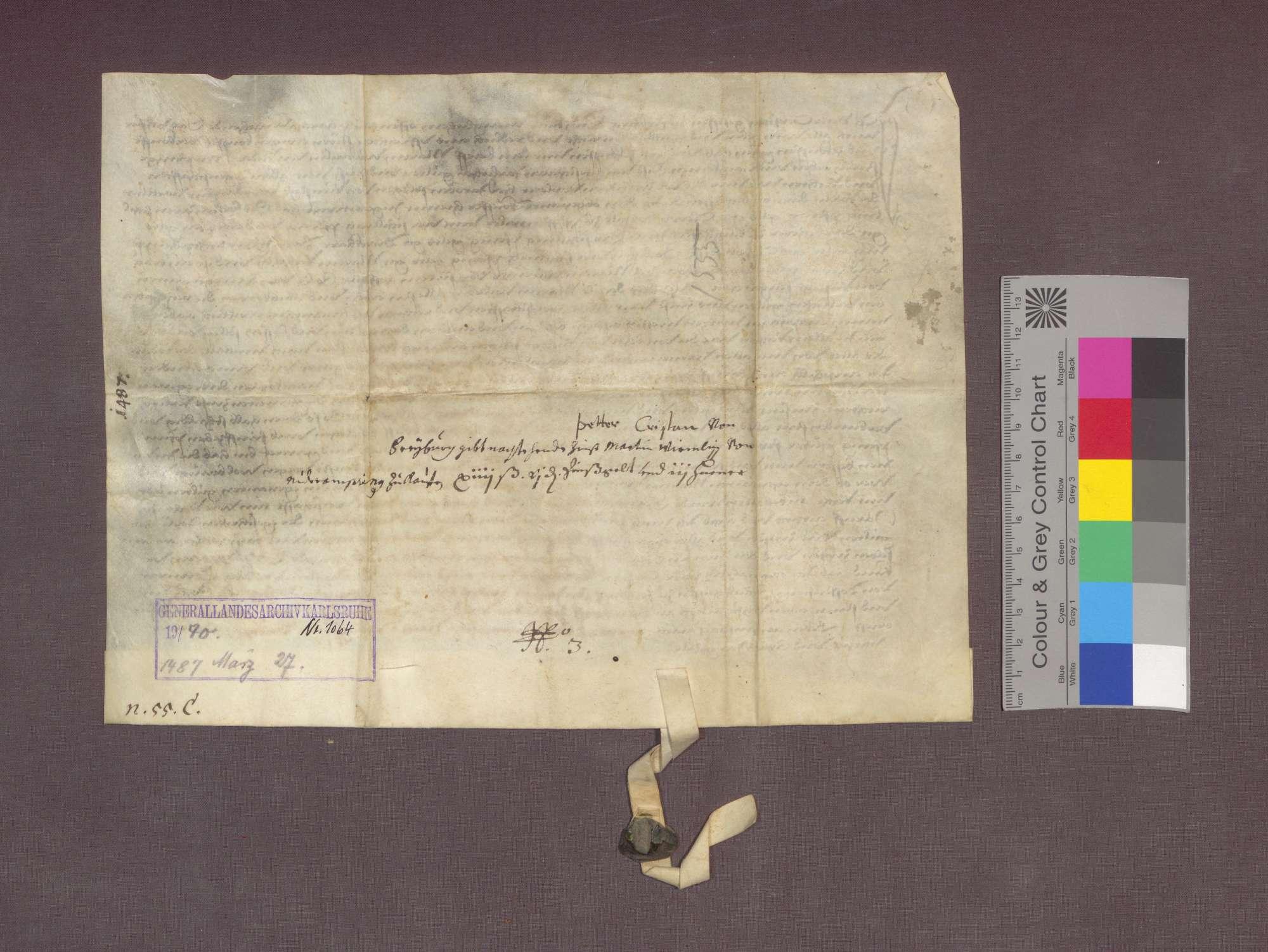 Peter Crystan zu Freiburg verkauft an Martin Würmlin zu Niederambringen Gülten zu Pfaffenweiler und Kirchhofen., Bild 2