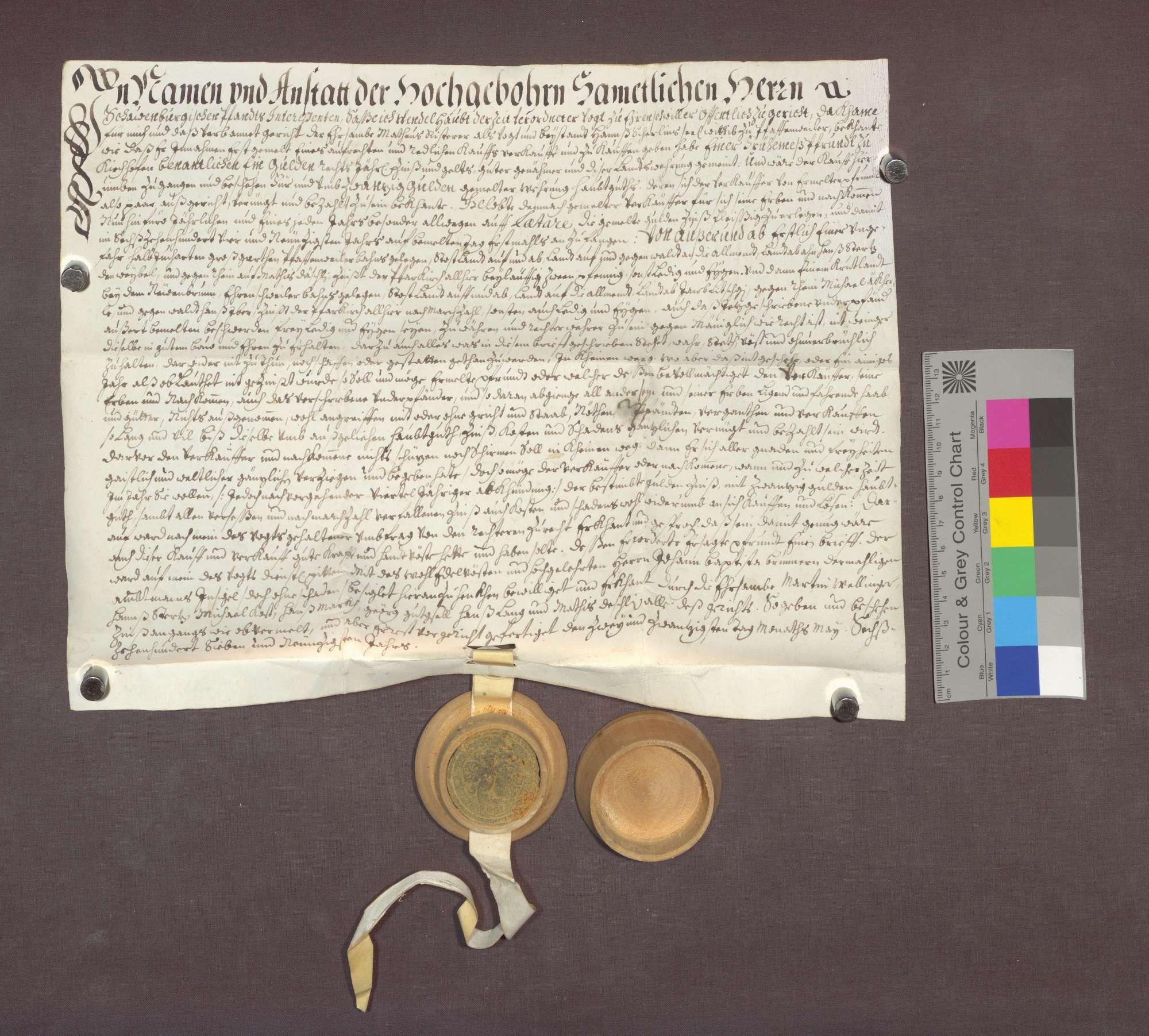 Schuldverschreibung des Matthäus Riesterer als Vogt der Witwe Hans Scherlins zu Pfaffenweiler gegenüber der Frühmesse in Kirchhofen., Bild 1