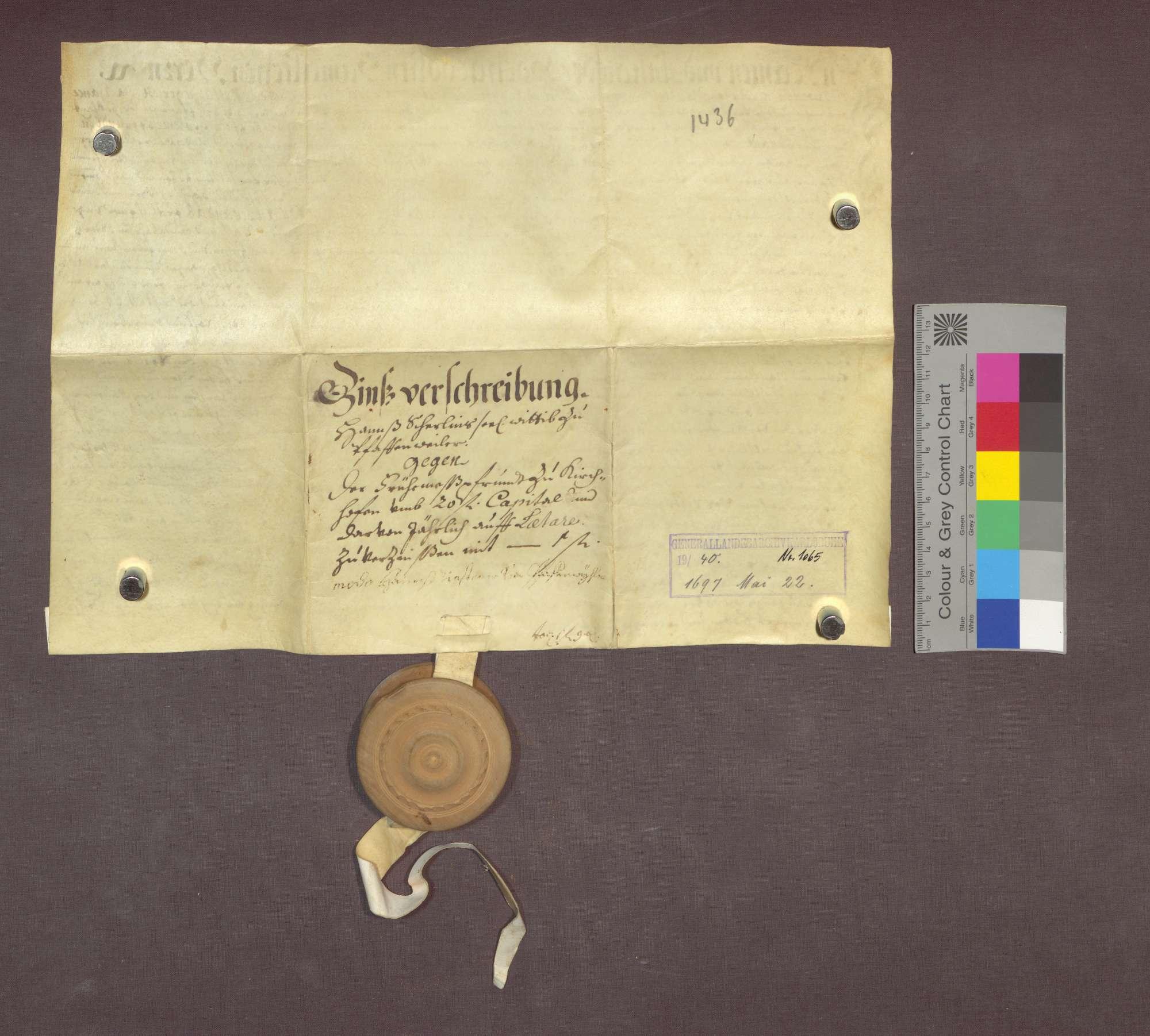 Schuldverschreibung des Matthäus Riesterer als Vogt der Witwe Hans Scherlins zu Pfaffenweiler gegenüber der Frühmesse in Kirchhofen., Bild 2