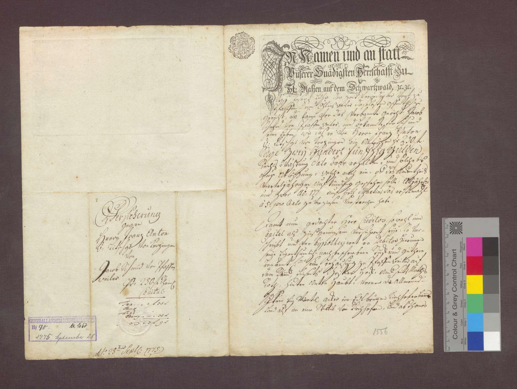 Schuldverschreibung des Jakob Schmid von Pfaffenweiler gegenüber Franz Anton Litschgi in Krozingen., Bild 1