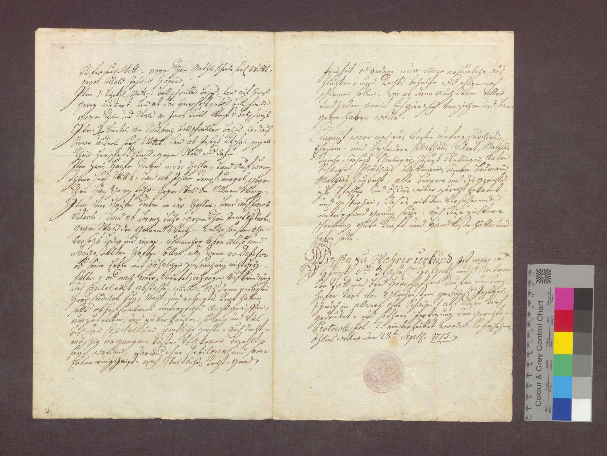 Schuldverschreibung des Jakob Schmid von Pfaffenweiler gegenüber Franz Anton Litschgi in Krozingen., Bild 2