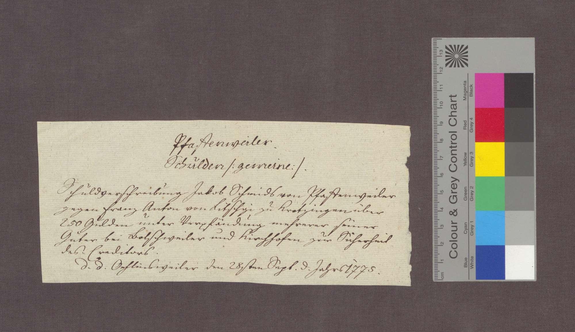Schuldverschreibung des Jakob Schmid von Pfaffenweiler gegenüber Franz Anton Litschgi in Krozingen., Bild 3