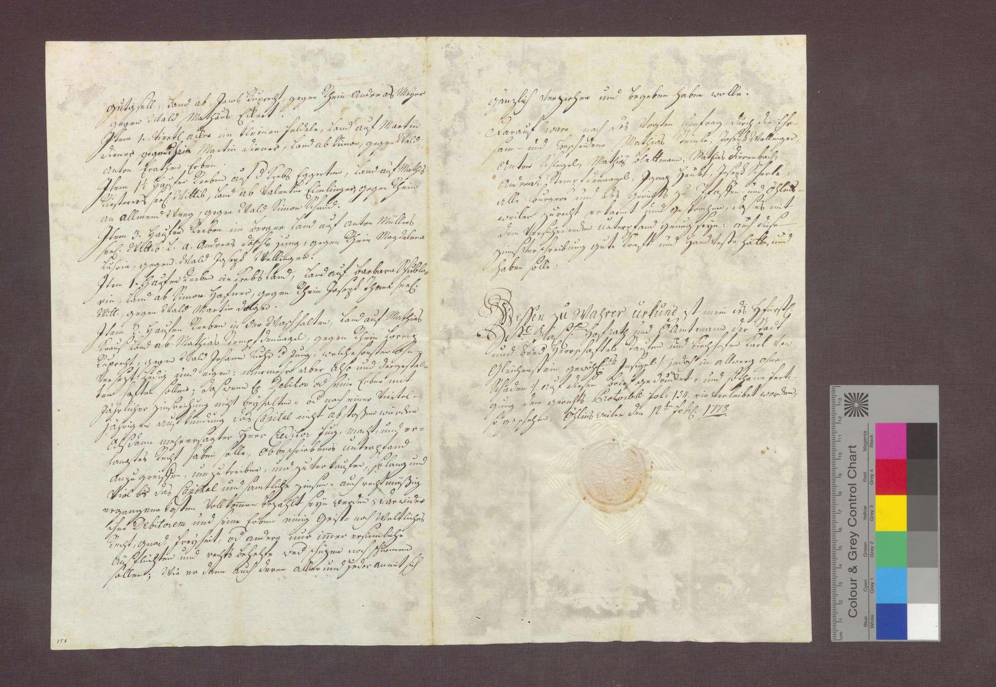 Schuldverschreibung des Simon Kiefer in Pfaffenweiler gegenüber Anton von Litschgi in Krozingen., Bild 2