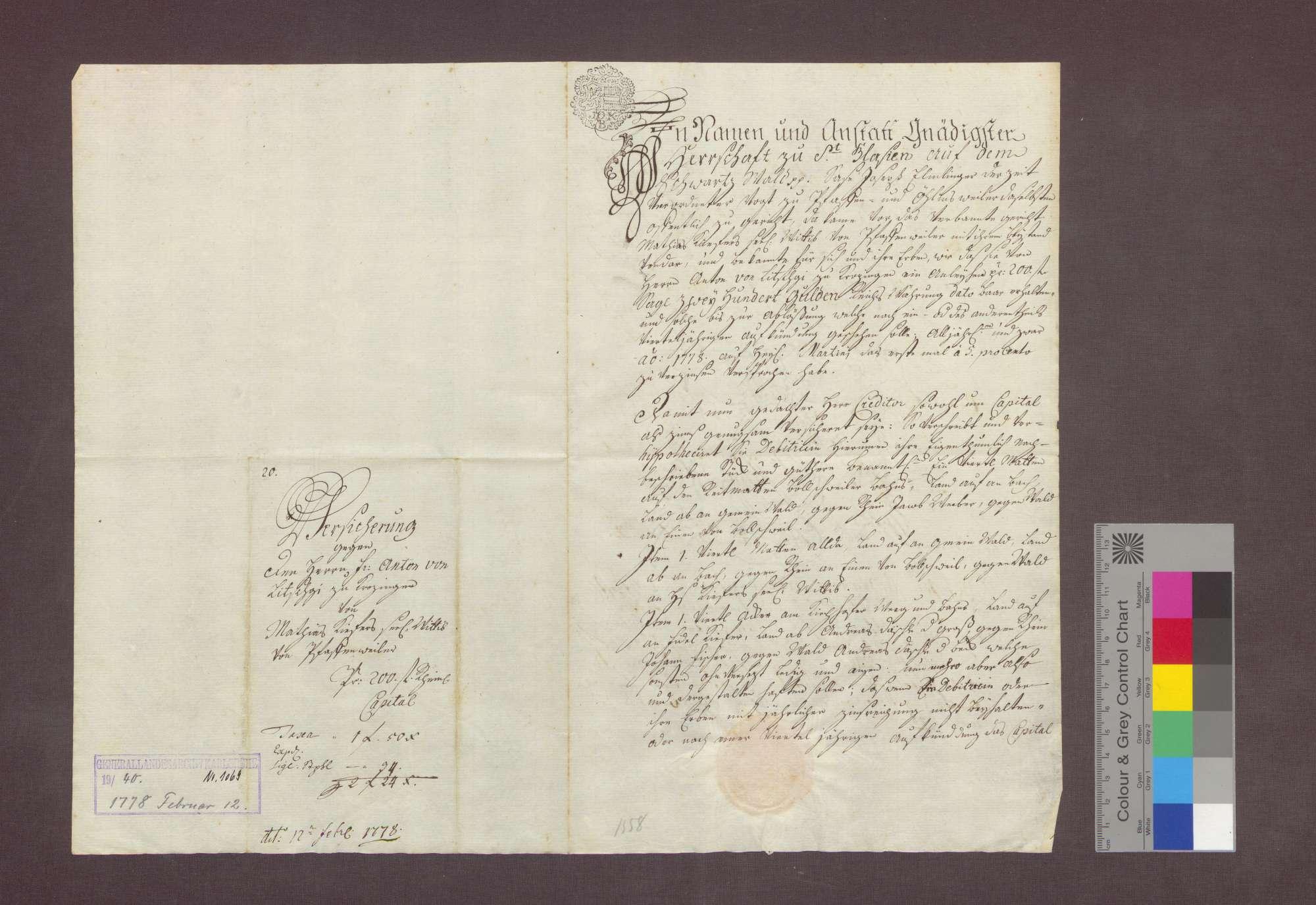 Schuldverschreibung der Witwe des Matthias Kiefer von Pfaffenweiler gegenüber Anton von Litschgi in Krozingen., Bild 1