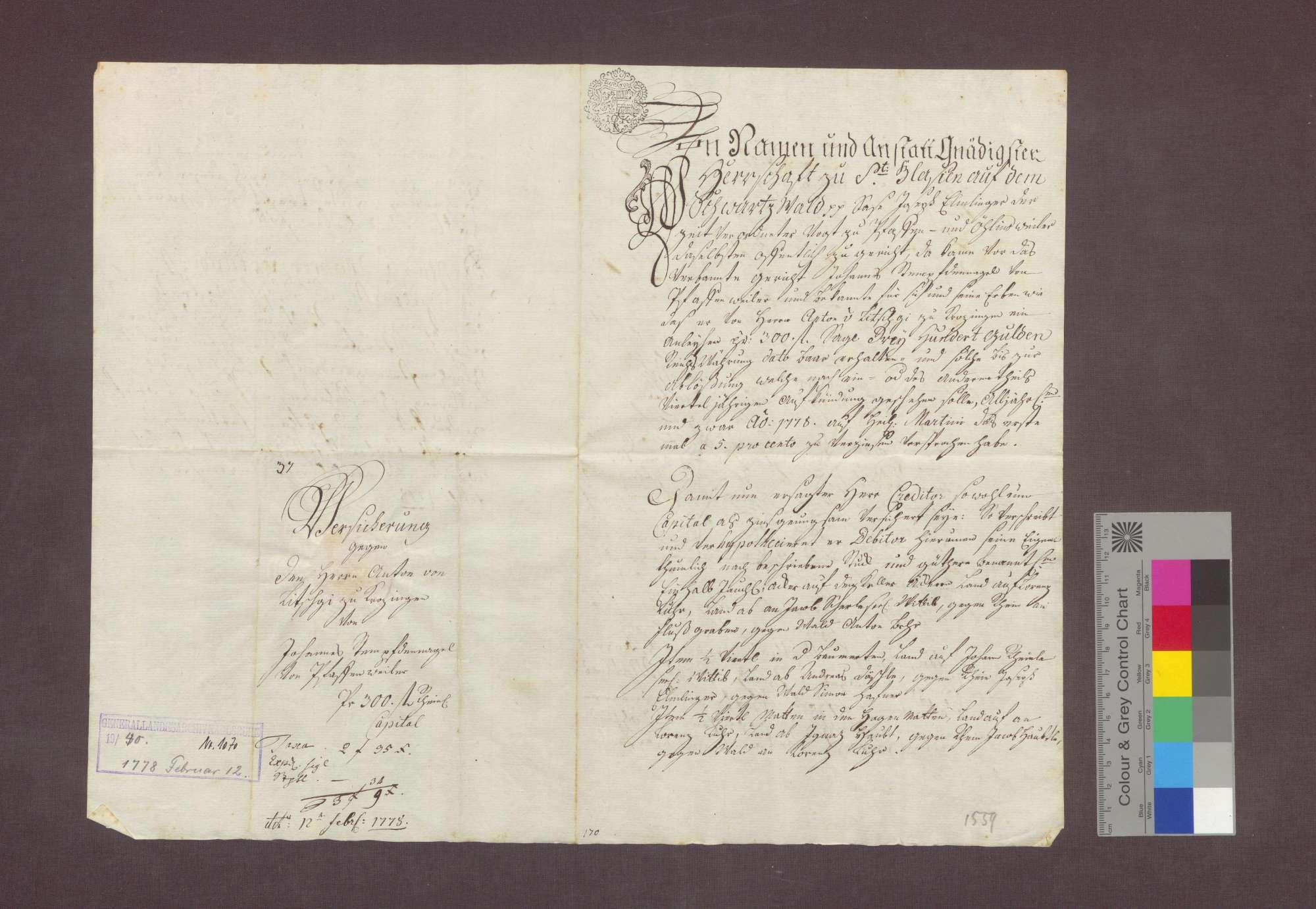 Schuldverschreibung des Johannes Stempfdennagel von Pfaffenweiler gegenüber Anton von Litschgi in Krozingen., Bild 1
