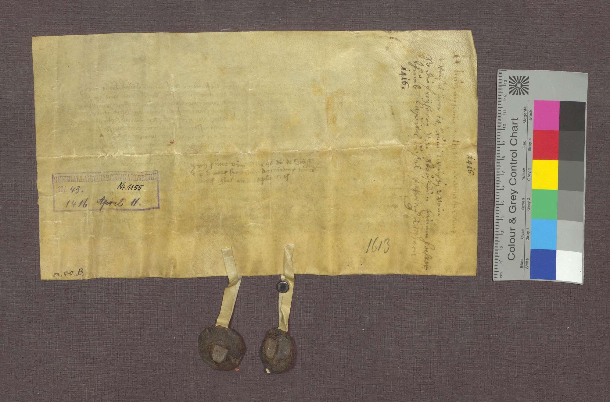 Hans und Diethelm von Staufen verschreiben dem Basler Domkapitel jährlich 14 Saum Wein aus dem Zehnt zu Staufen., Bild 2