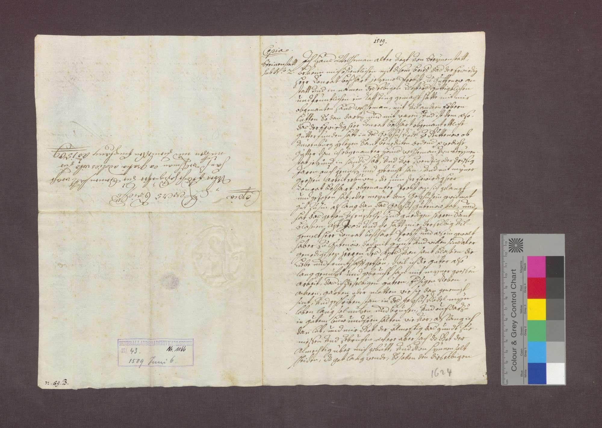 Hans Welchemann zu Steinenstadt bekennt, das Kloster Gutnau habe ihm Güter, die er seint langem genutzt hat und die Eigentum des Klosters sind, zu lebenslanger Nutznießung überlassen., Bild 1