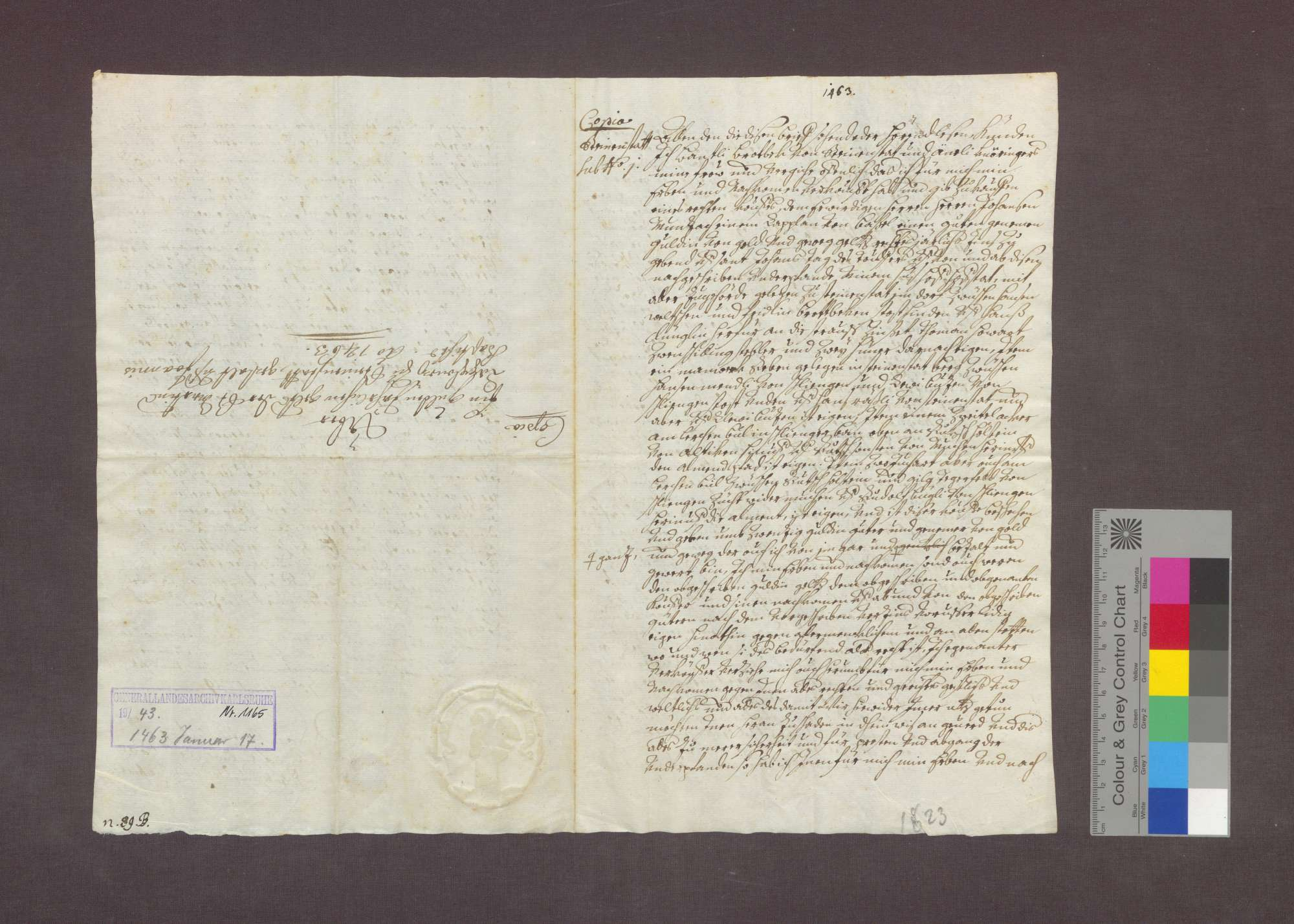 Gültverschreibung des Bantli Brodbeck zu Steinenstadt gegenüber dem Basler Kaplan Johannes Munzach., Bild 1
