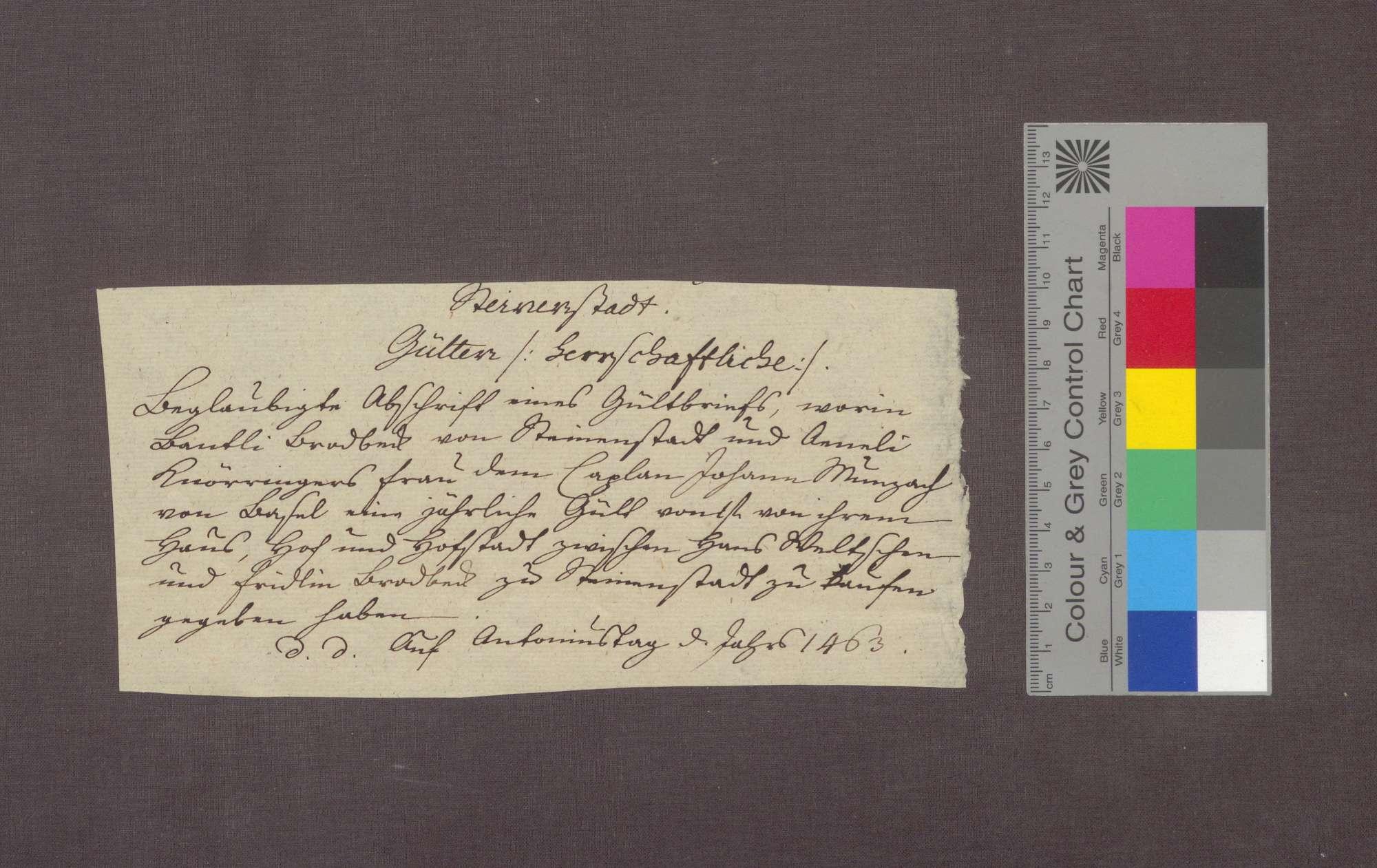 Gültverschreibung des Bantli Brodbeck zu Steinenstadt gegenüber dem Basler Kaplan Johannes Munzach., Bild 3