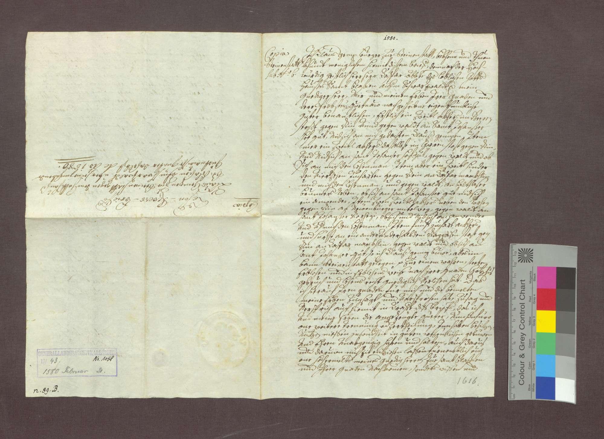Lehnrevers des Klaus Ganz zu Steinenstadt gegenüber der Abtei St. Blasien., Bild 1