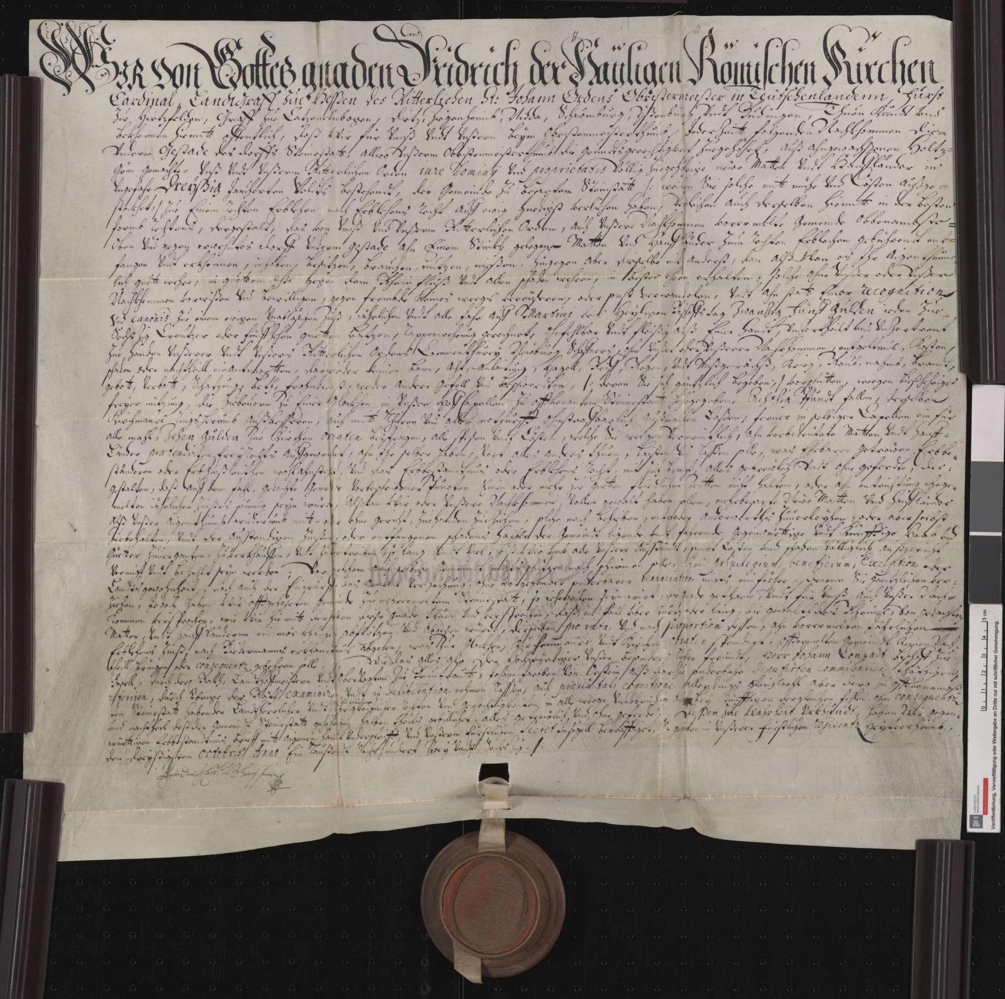 Der Johanniter-Obermeister Friedrich von Hessen belehnt die Gemeinde Steinenstadt mit frisch ausgestockten Matten und mit Hanfland., Bild 1