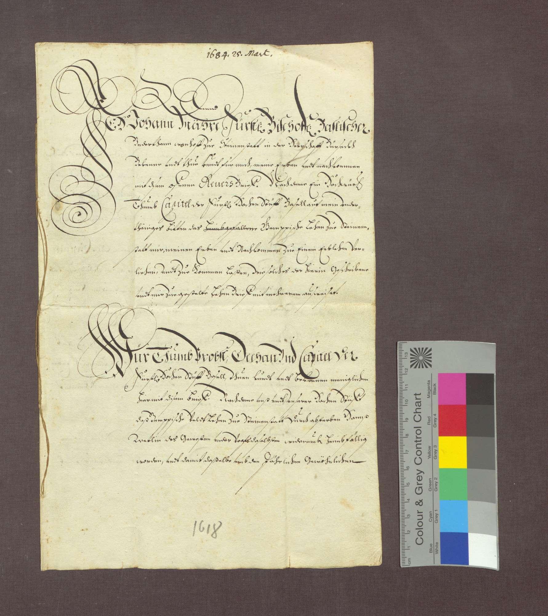 Lehnrevers des Johann Mähre zu Steinenstadt gegenüber dem Basler Domkapitel., Bild 1