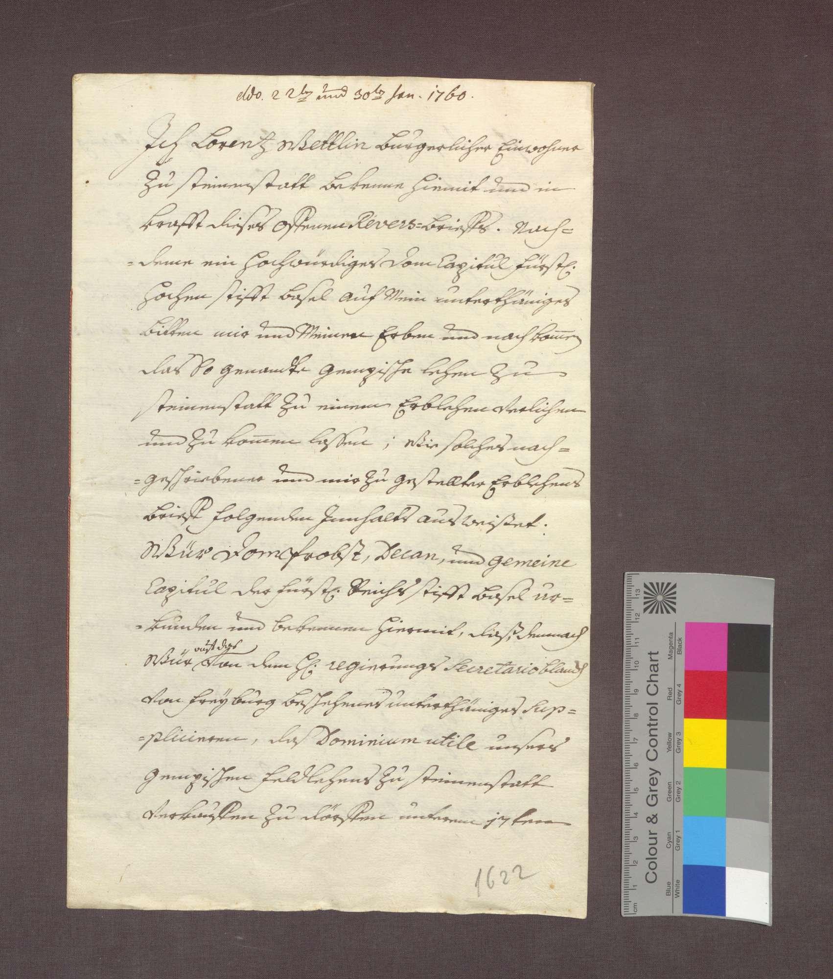 Lehnrevers des Lorenz Wettlin zu Steinenstadt gegenüber dem Basler Domkapitel., Bild 1