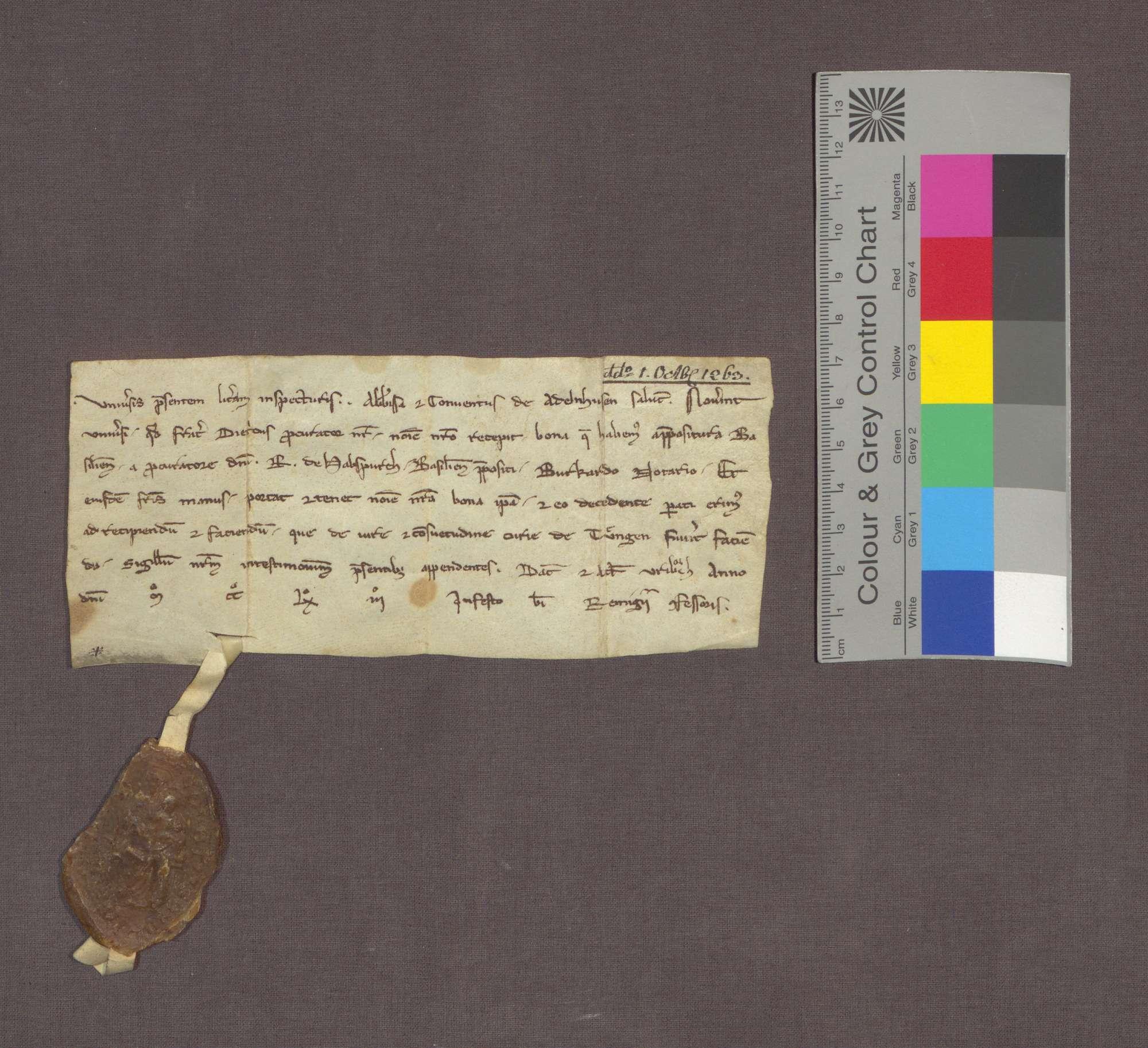 Äbtissin und Konvent zu Adelhausen bekennen, dass ihr Prokurator von der Basler Dompropstei Güter zu Tiengen empfangen hat., Bild 1