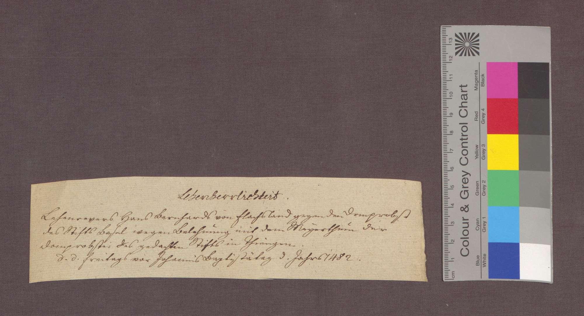 Revers des Hans Bernhard von Flachslanden für sich und seinen Sohn Pantaleon gegenüber dem Basler Dompropst Hartmann von Hallwil über die Belehnung mit dem Meiertum zu Tiengen., Bild 3