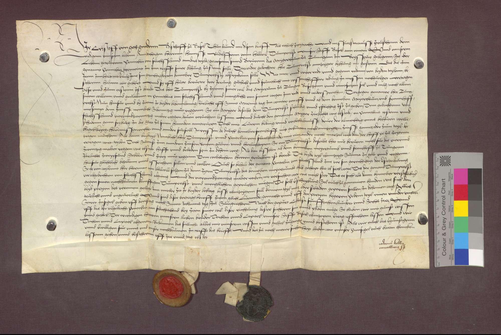 Der Basler Dompropst Rudolf von Hallwil vergleicht sich mit Pantaleon von Falchslanden über das Meiertum zu Tiengen., Bild 1