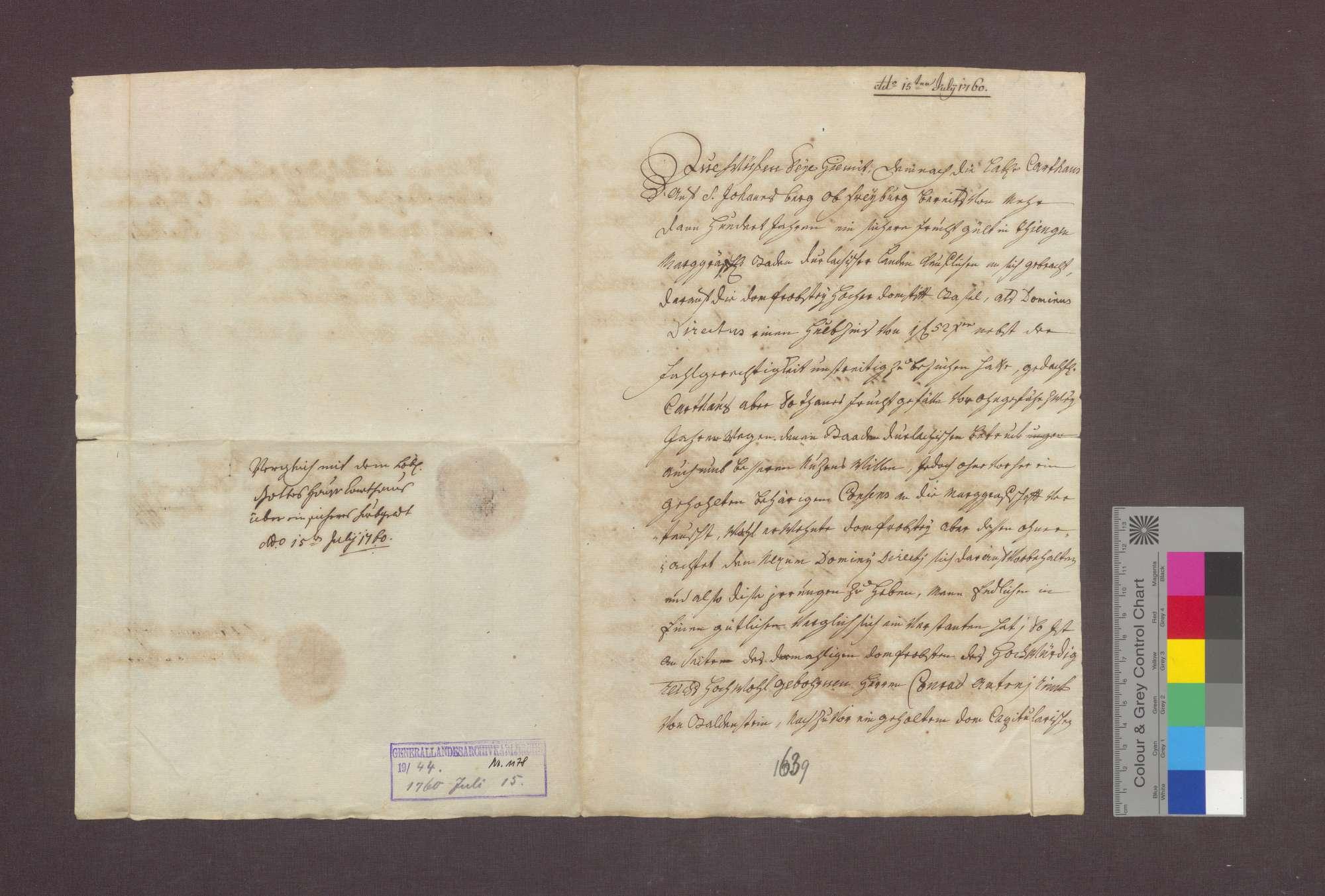 Vergleich zwischen der Basler Dompropstei und der Kartause zu Freiburg über eine Gült zu Tiengen., Bild 1
