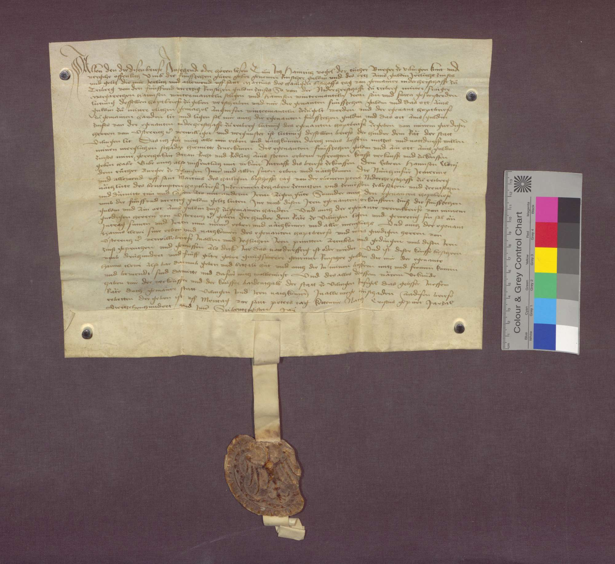 Konrad Vogel, Tucher zu Villingen, verkauft 15 1/4 Gulden Zins von der Niederherrschaft Triberg an Hans Clewi zu Villingen., Bild 1