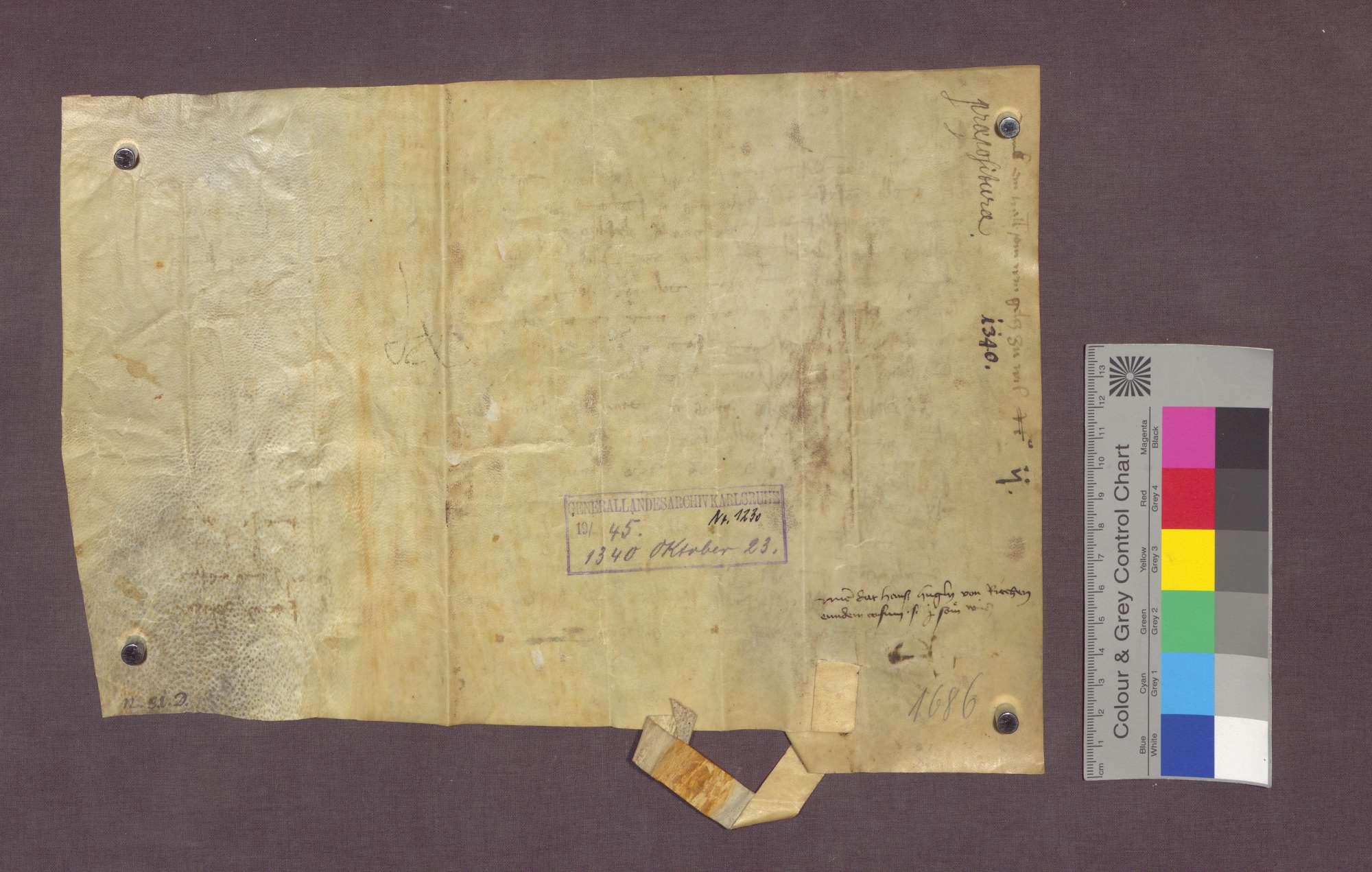 Gültverschreibung der Witwe Katharina Follestinkl von Kleinbasel gegenüber der Basler Dompropstei auf Gütern zu Weil., Bild 2