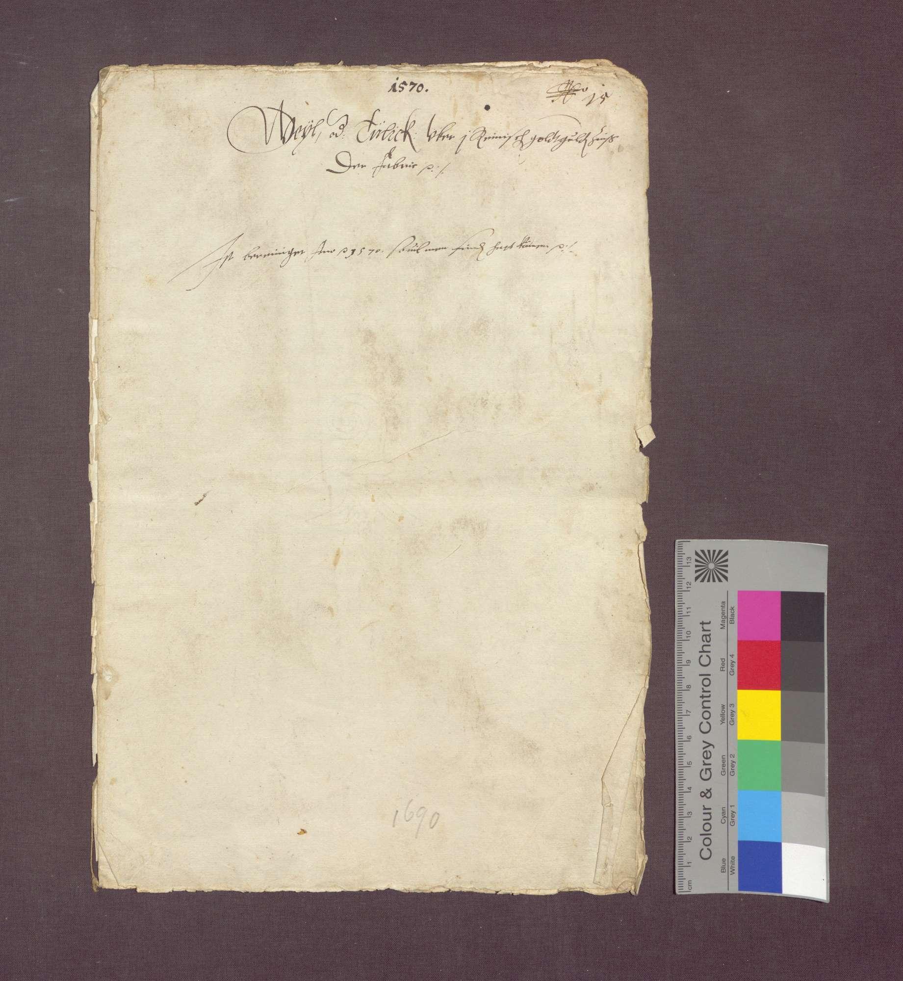 Gültverschreibung des Lienhart Rinckly von Weil gegenüber Heinrich Spitz daselbst nebst zugehörigen Briefen., Bild 1