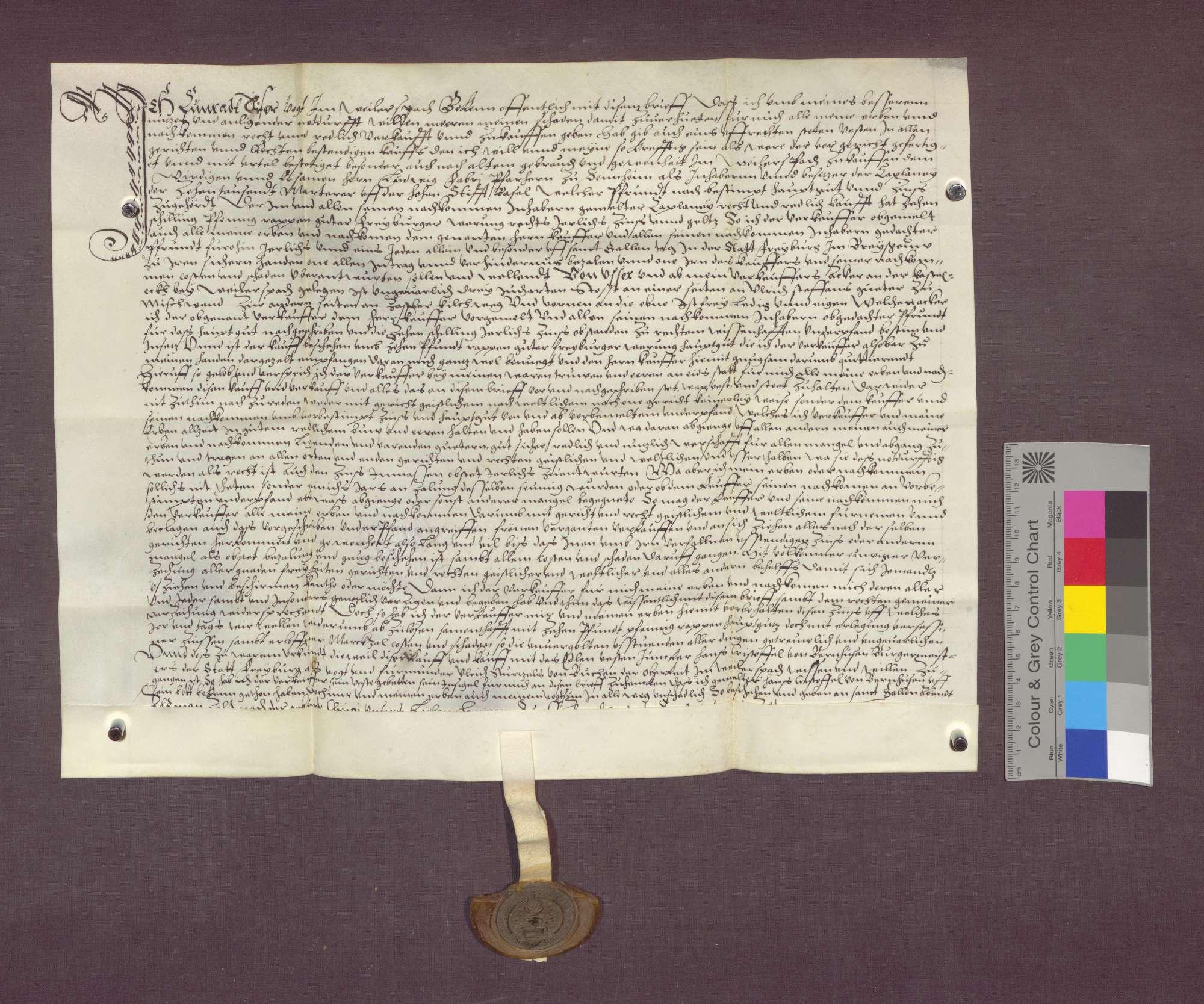 Gültverschreibung des Konrad Tiser zu Weilersbach gegenüber der 10.000 Märtyrer-Pfründe am Basler Domstift., Bild 1