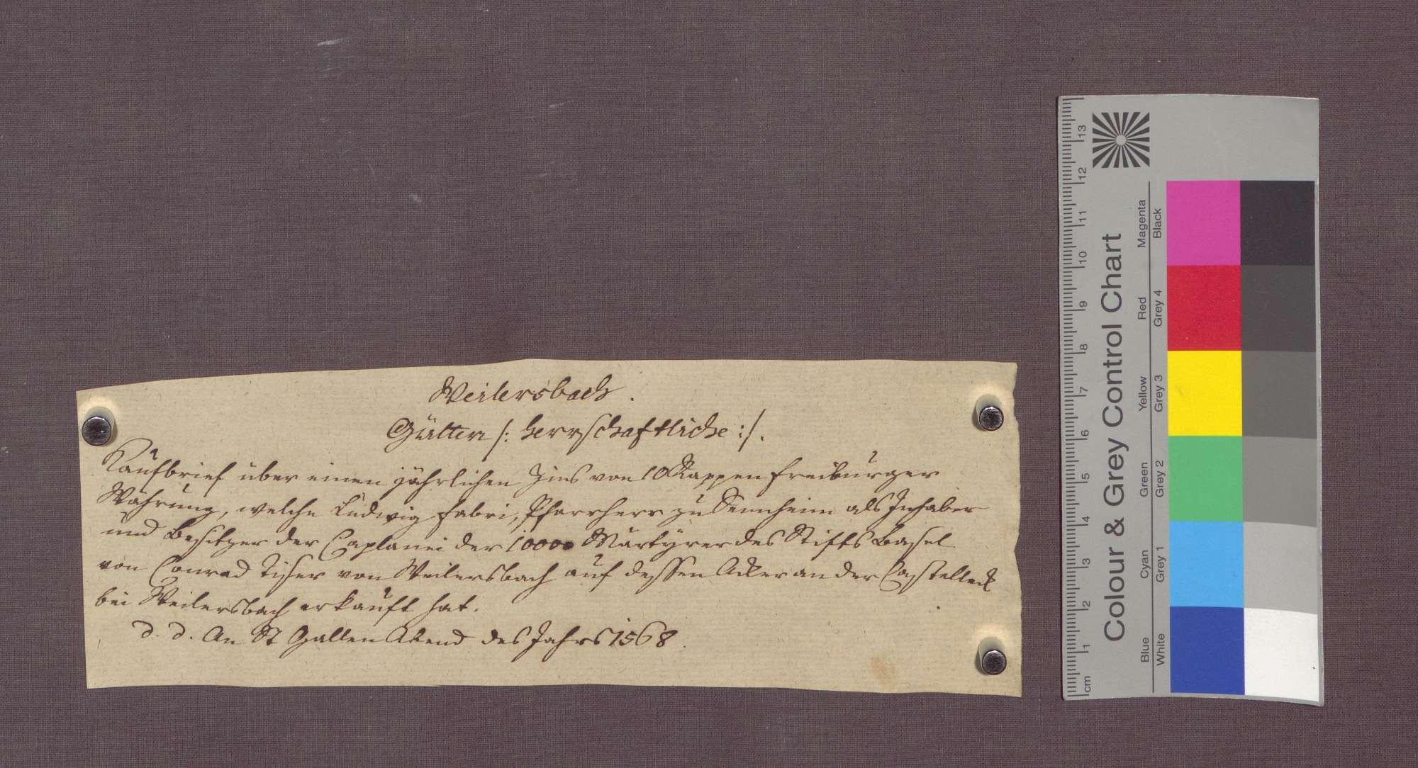 Gültverschreibung des Konrad Tiser zu Weilersbach gegenüber der 10.000 Märtyrer-Pfründe am Basler Domstift., Bild 3