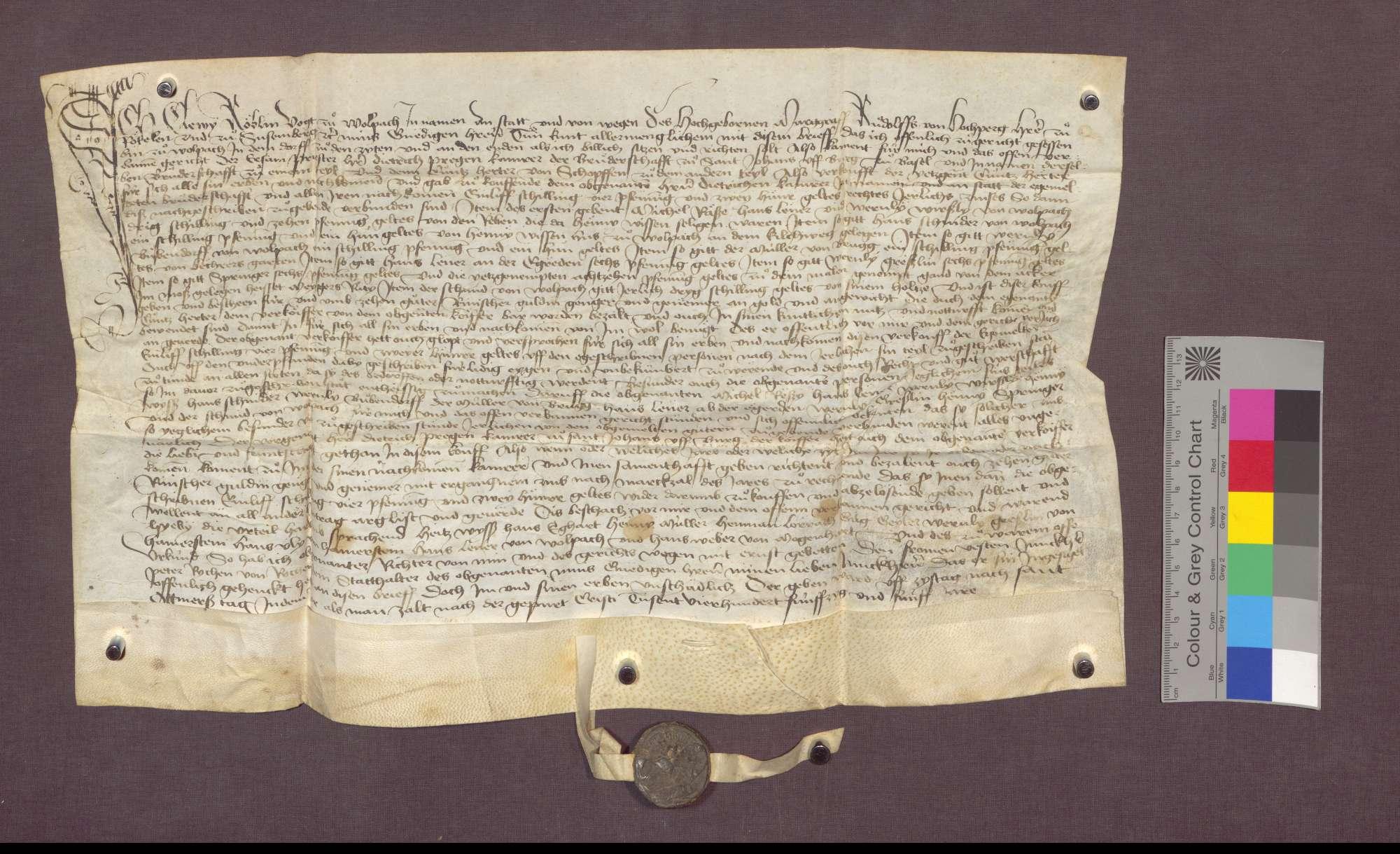 Kunz Herter von Schopfheim verkauft der St. Johannes-Bruderschaft auf Burg zu Basel Gülten zu Wollbach., Bild 1
