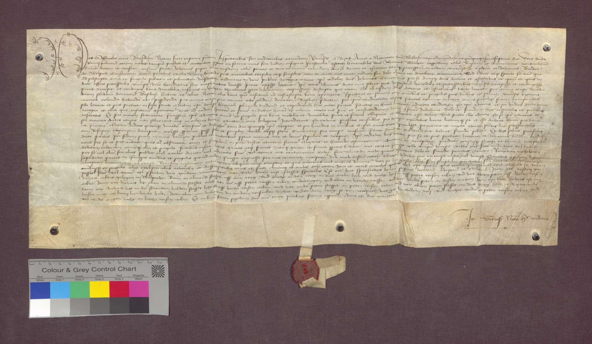 Lehnbrief der Basler St. Johannes-Bruderschaft auf Burg für Johannes Bruder zu Wollbach., Bild 1