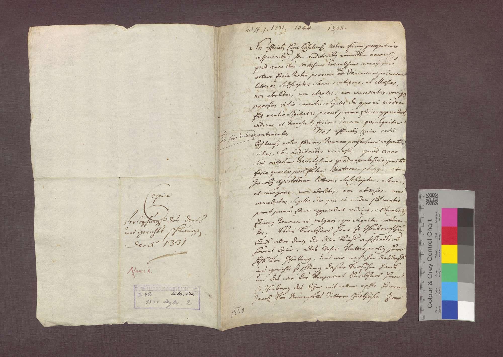 Burkhard von Üsenberg verleiht das Dorf Schliengen, nachdem Rudolf Schaler es aufgab, an Jakob von Neuenfels, Schultheißen zu Neuenburg., Bild 3