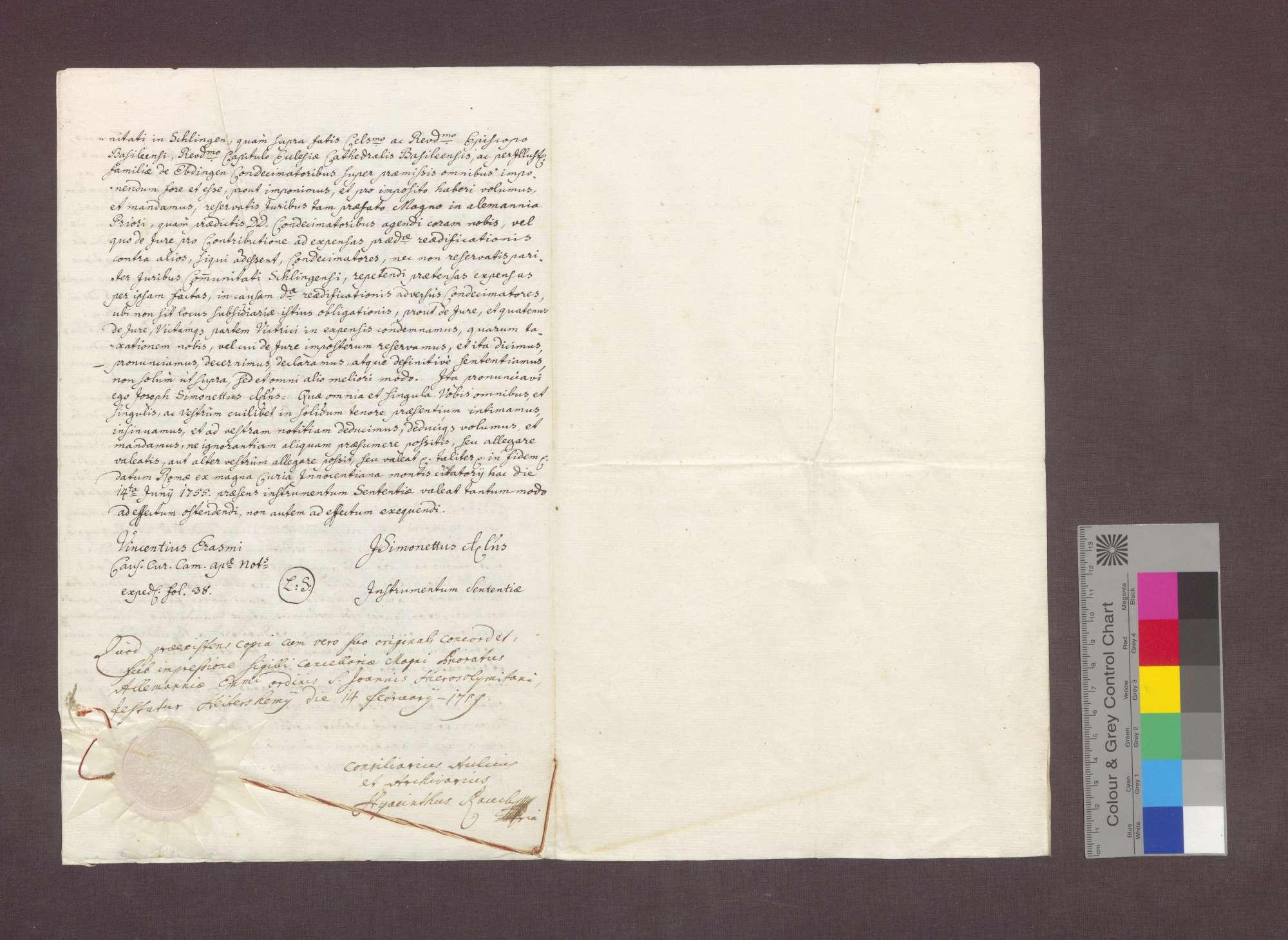 Sentenz der römischen Kurie in Sachen der Kirchenbaupflicht zu Schliengen., Bild 3