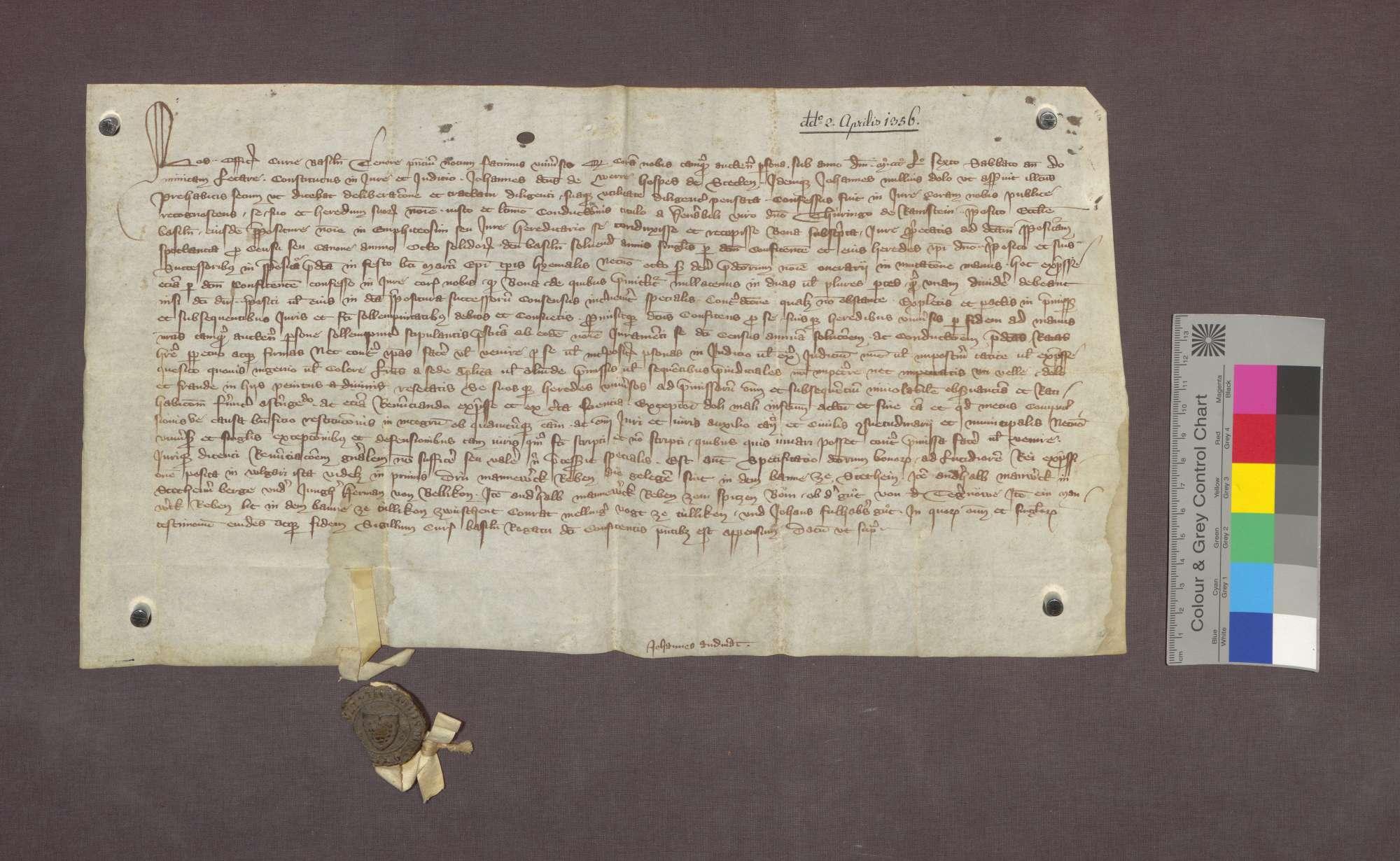 Lehnrevers des Johannes von Wehr, Wirts zu Stetten, gegenüber der Basler Dompropstei., Bild 1