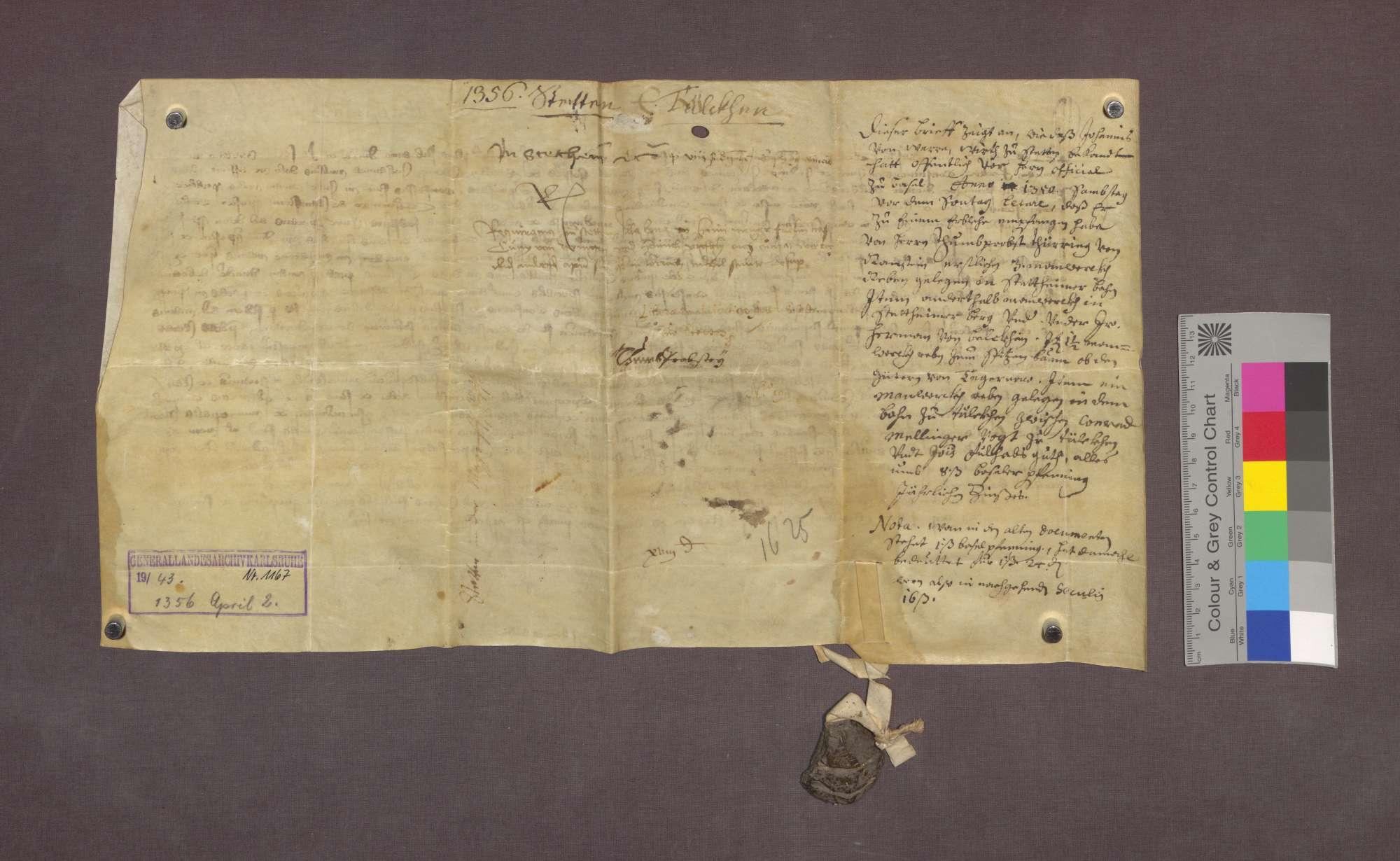 Lehnrevers des Johannes von Wehr, Wirts zu Stetten, gegenüber der Basler Dompropstei., Bild 2