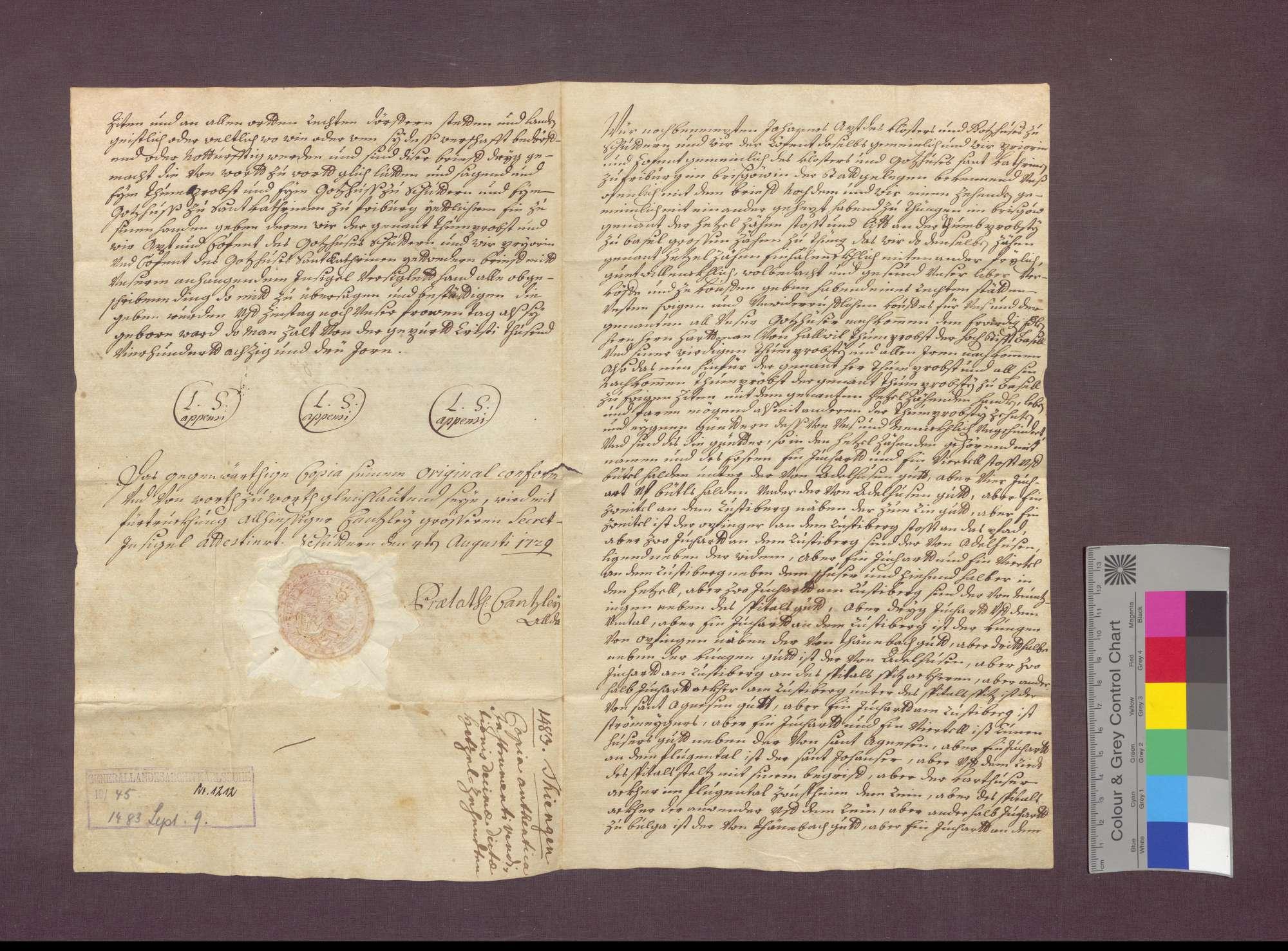 Das Kloster Schuttern und das Kloster St. Katharina in Freiburg verkaufen den Hetzelzehnt zu Tiengen an die Basler Domprostei., Bild 1
