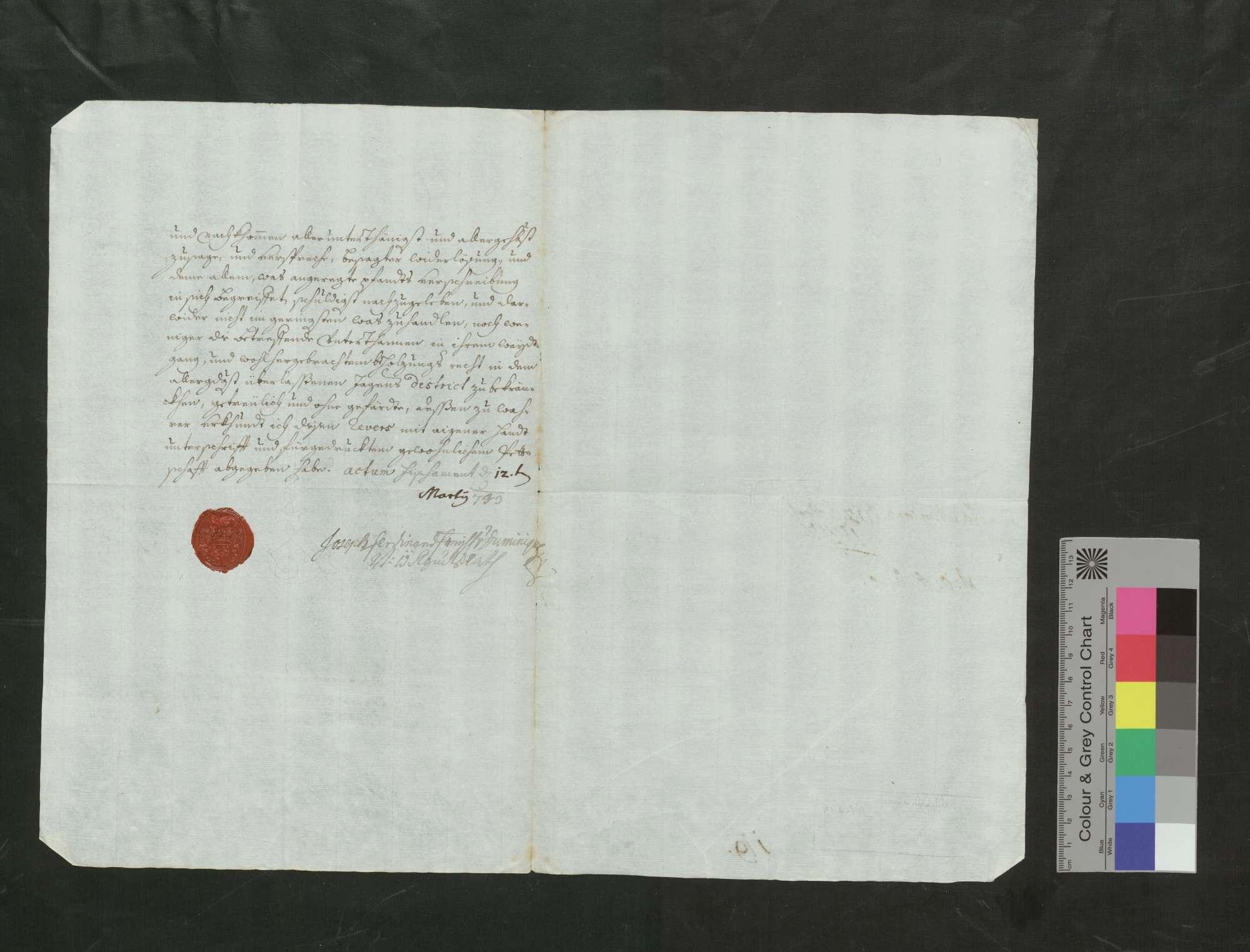Freiherr Josef von Duminique, vorderösterreichischer Regimentsrat, leiht von der Regierung die Jagdgerechtigkeit im Bann von Bombach auf zwanzig Jahre um 500 Gulden., Bild 2