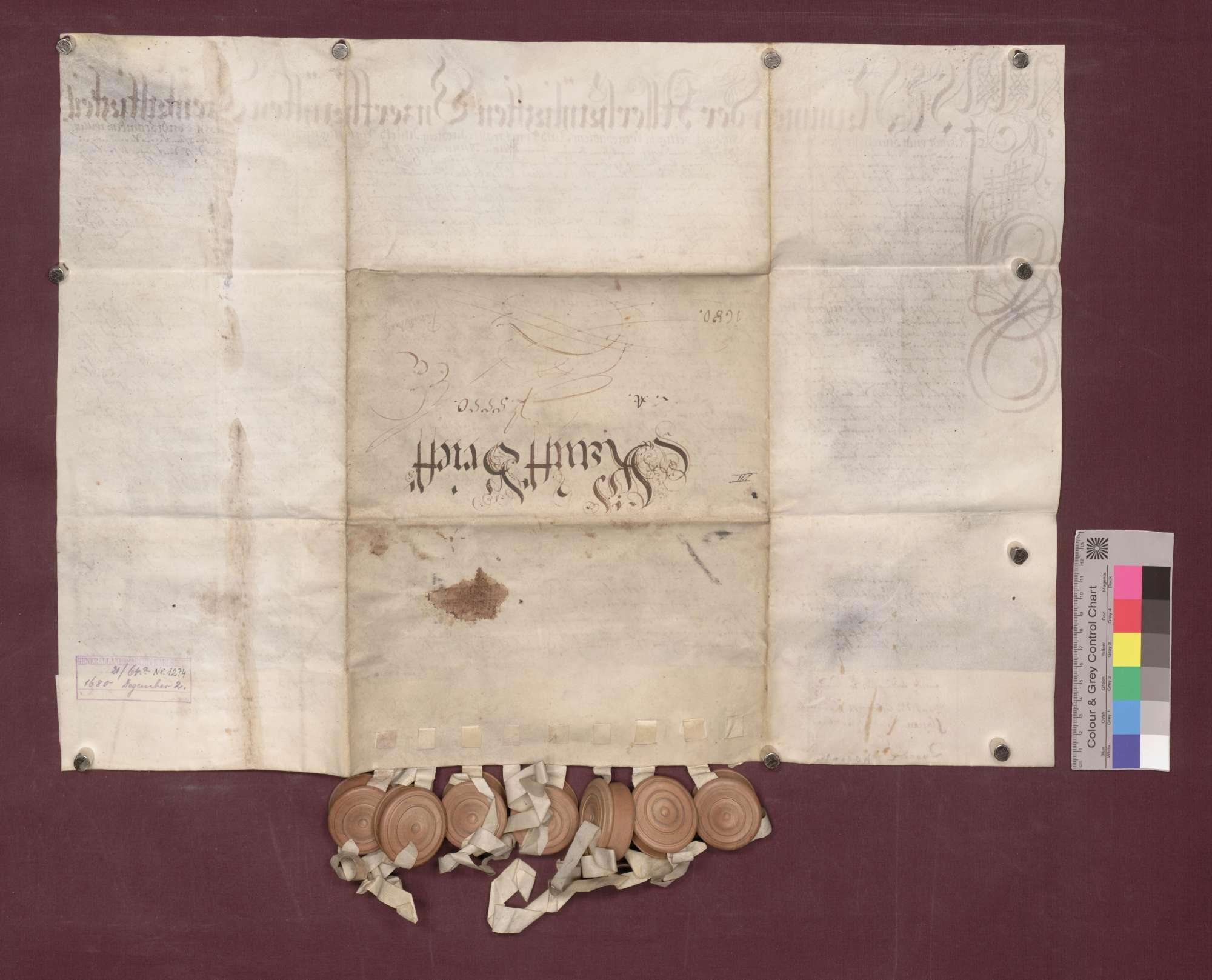 Kaufbrief der Maria Anna Harschin von Reütti geb Zellerin Witwe und ...