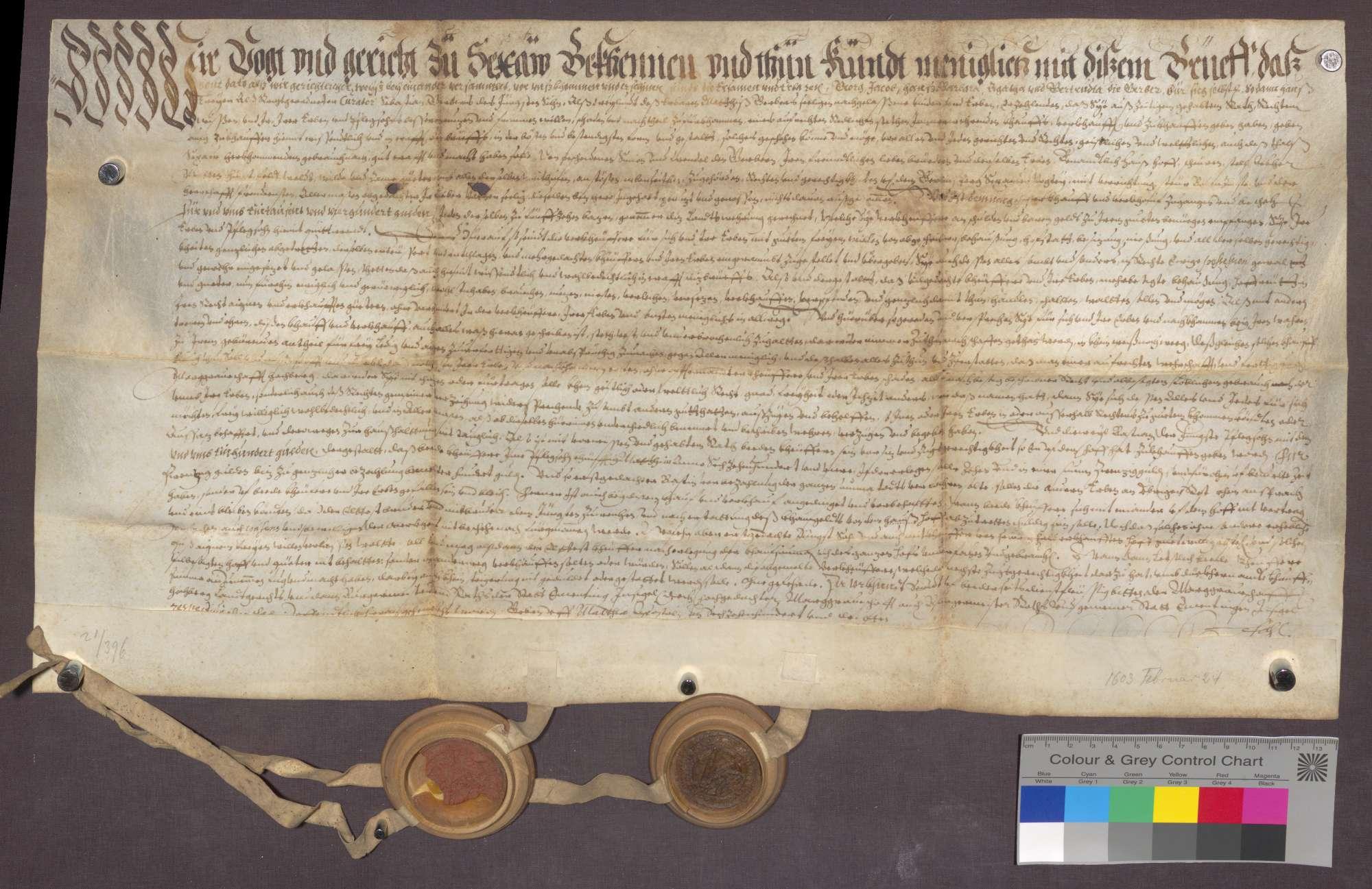 Kaufbrief der Kinder des verstorbenen Gerber für Simon und Wendel ...