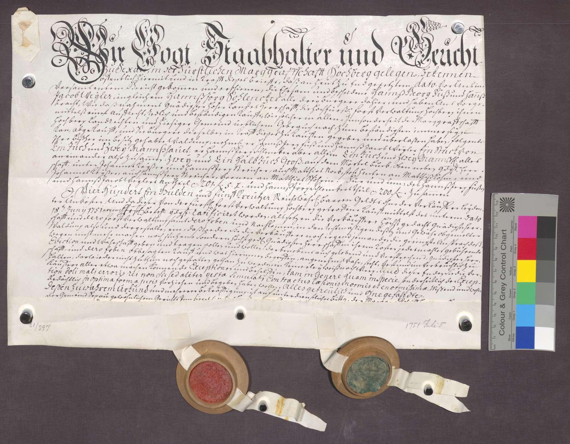 Kaufbrief der Hans Georg Fuß Hans Jakob Weiler und Hans Jörg ...