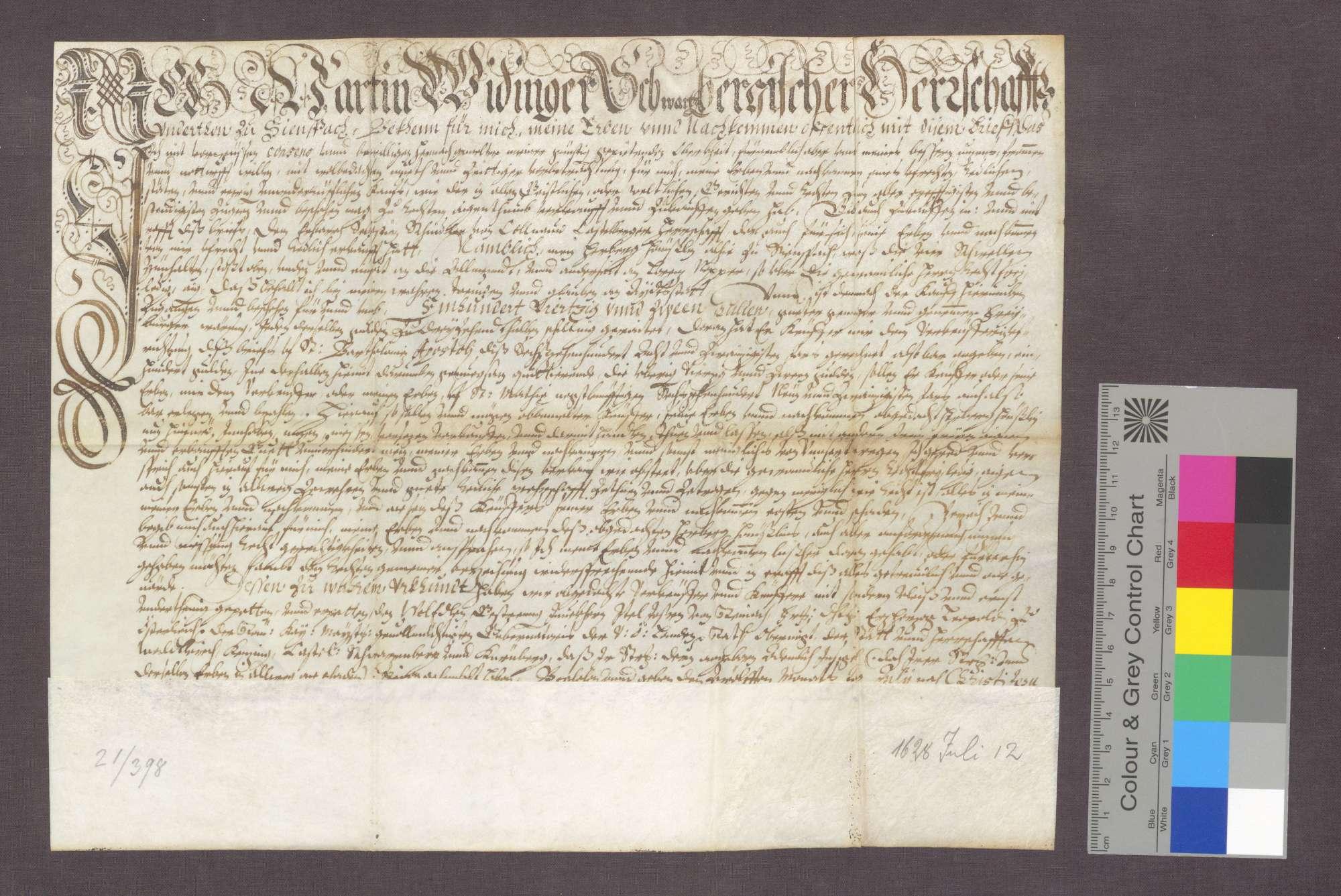 Kaufbrief des Martin Widinger zu Siensbach für Sebastian Schindler ...
