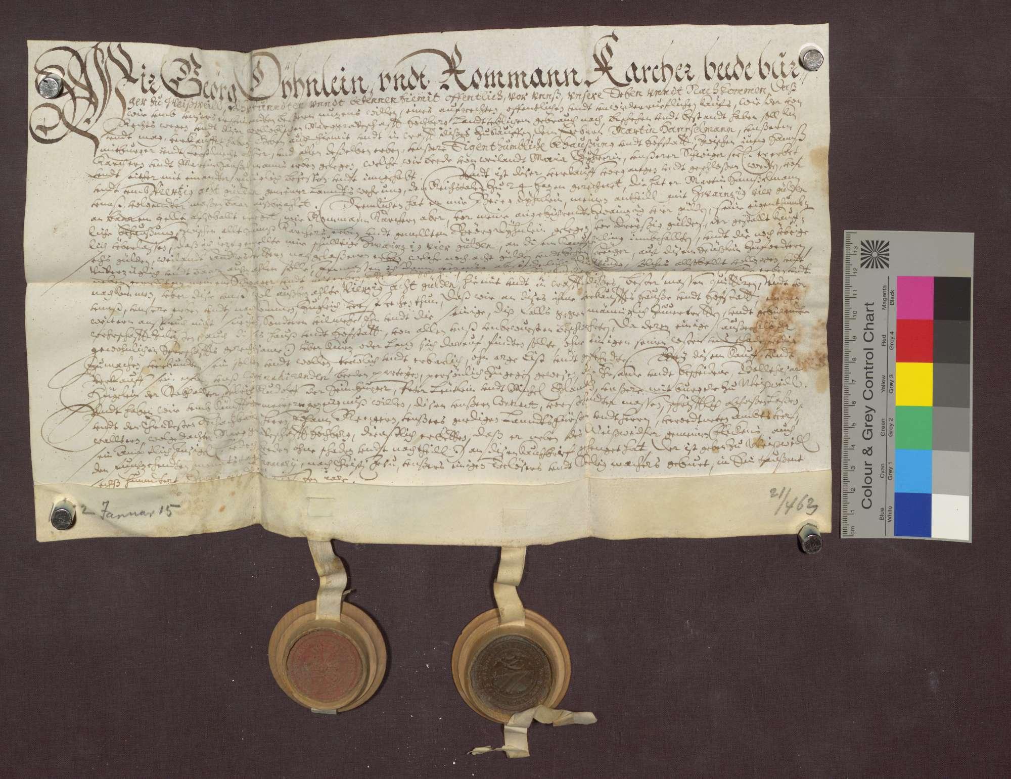Kaufbrief des Georg Dühnlein und des Roman Karcher für Martin ...