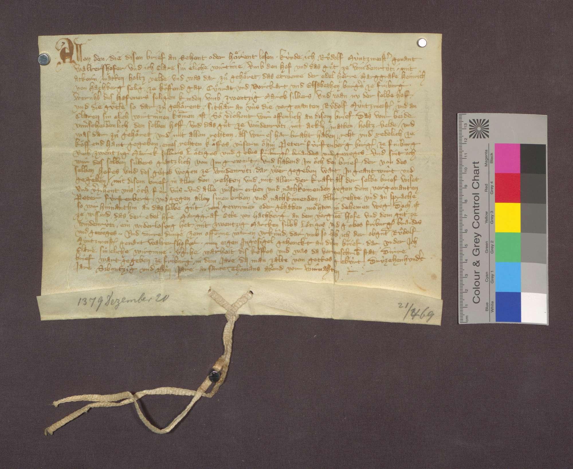 Kaufbrief des Rudolf Münzmeister gen Waltershofer und seiner Ehefrau ...