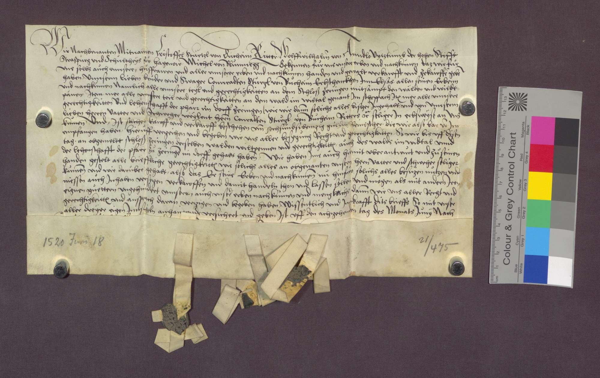 Kaufbrief des Christoph Stürzel von Bucheim des Wolf Wilhelm von ...
