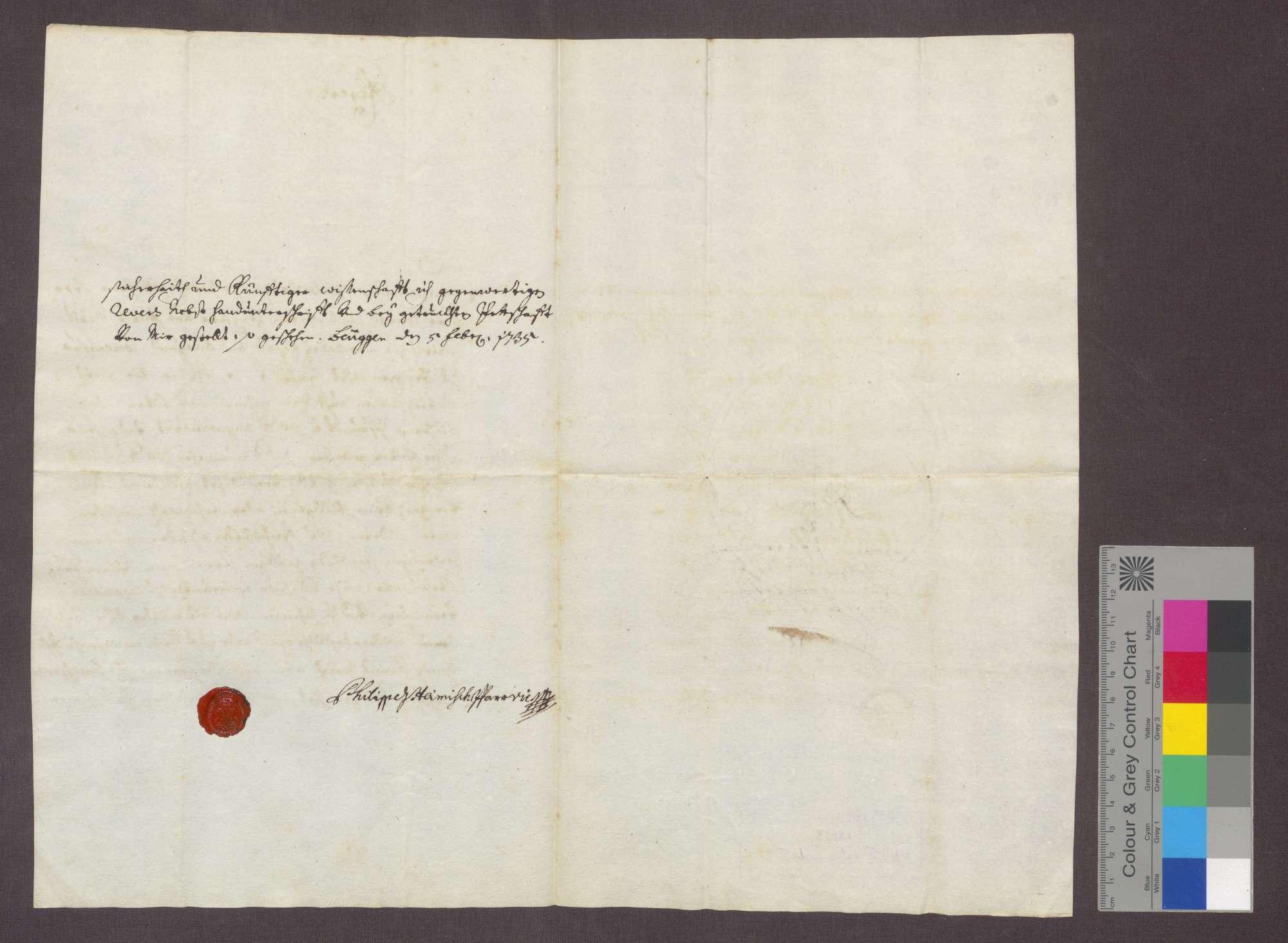 Der Pfarrvikars Philipp Heinisch reversiert gegenüber dem Komtur Karl Anton von Pfirdt zu Beuggen wegen der ihm widerruflich bewilligten Besoldungsaufbesserung seiner Pfründe von 50 auf 80 Pfund., Bild 2