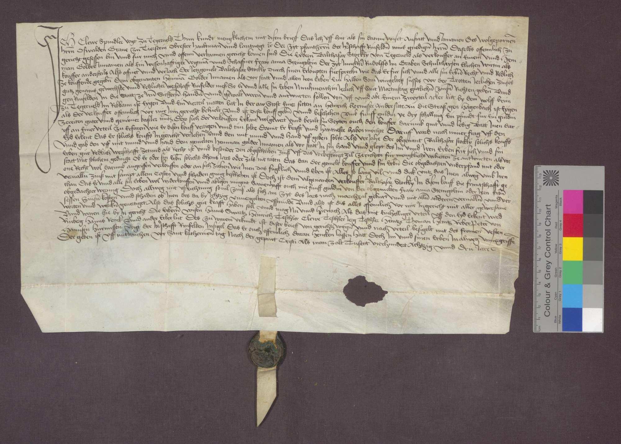 Balthasar Stöckly von Degerfelden verkauft an Anna Steingolt, Ehefrau des Schultheißen Rudolf im Graben, eine Gült von 1/2 Sohm süßen Weins von der Trotte zu Degerfelden um 5 Gulden., Bild 1