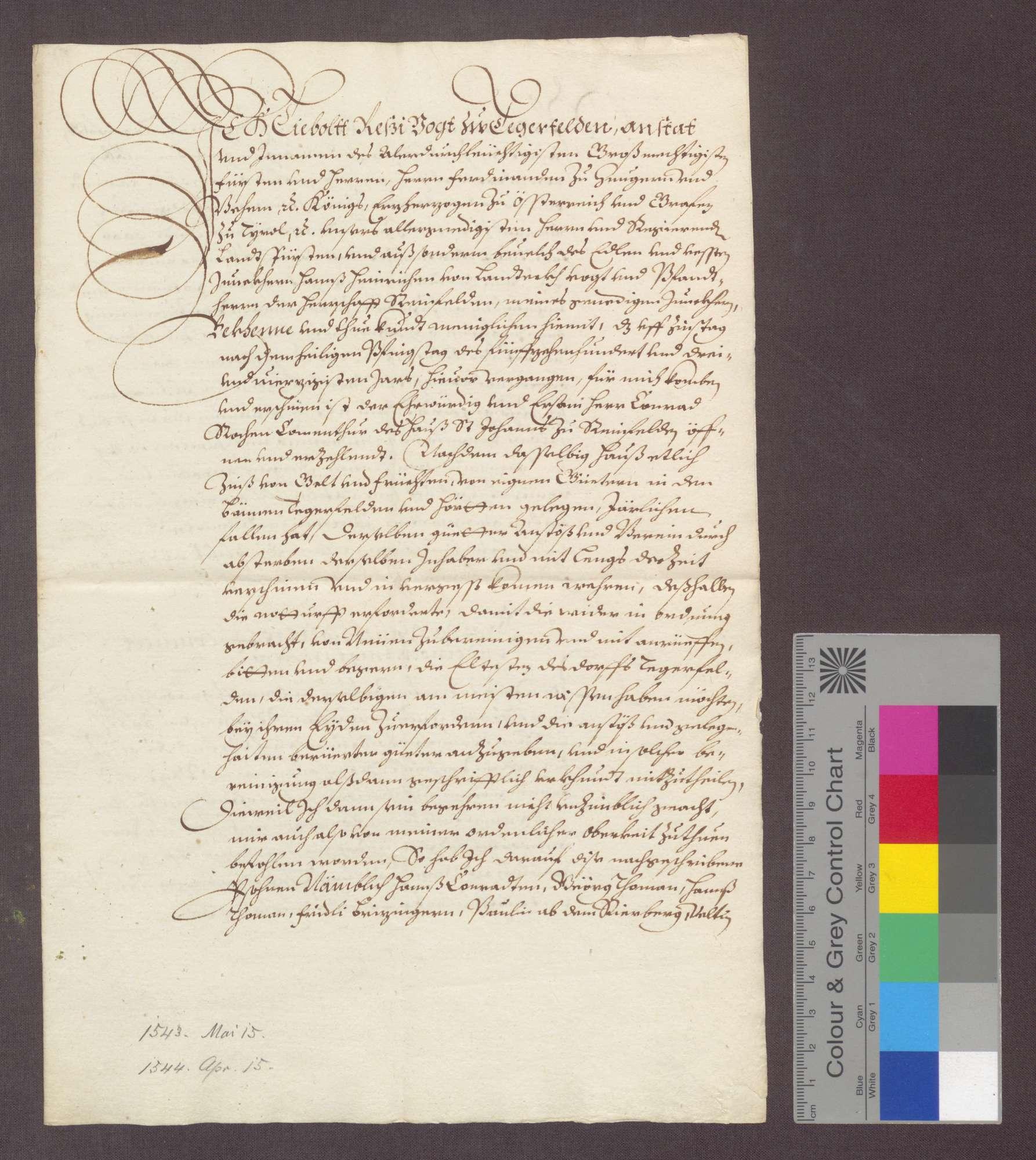 Auszug aus dem erneuerten Berein über die dem Johanniter-Haus zu Rheinfelden gehörigen Gefälle zu Degerfelden und Herten., Bild 1