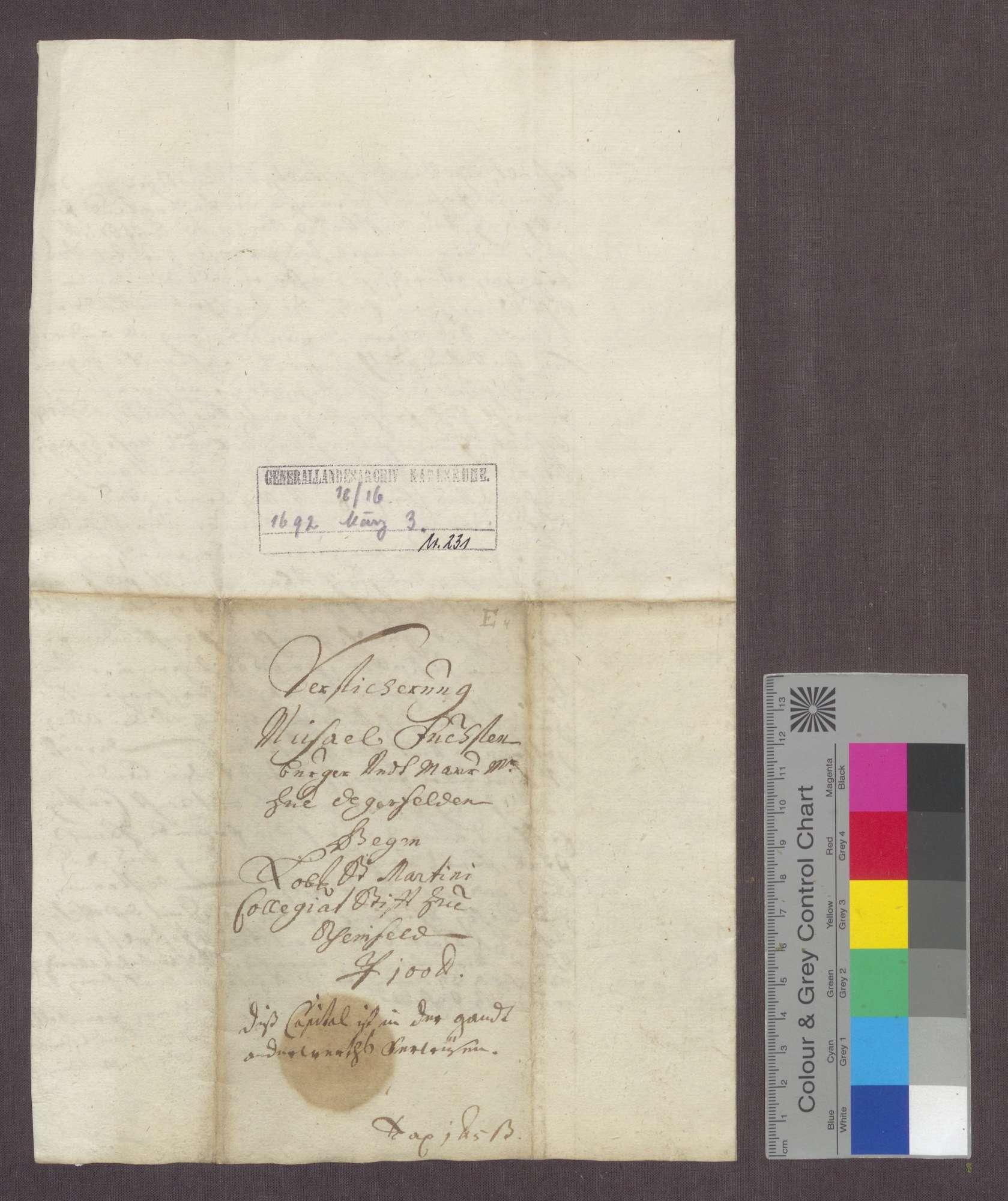 Michael Fuchs, Bürger und Maurer zu Degenfelden, verschreibt sich gegenüber dem St. Martins-Stift zu Rheinfelden wegen 100 Gulden., Bild 3
