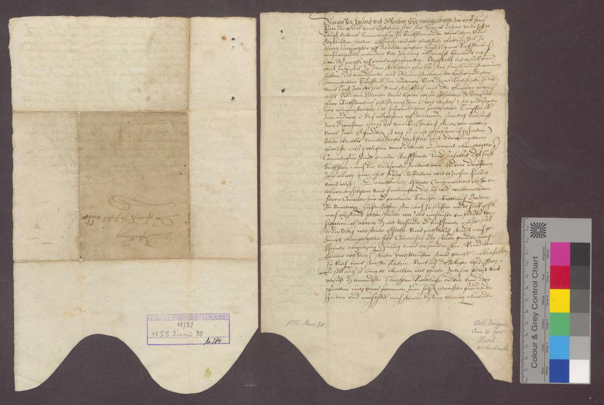 Hans Kaspar von Jestetten, Komtur zu Beuggen, überträgt Luz Widmer, vormaligem Pfarrer zu Zell, die Pfarreien zu Hasel und Rickenbach auf vier Jahre. Die Kompetenzen sind in der Urkunde aufgeführt., Bild 3
