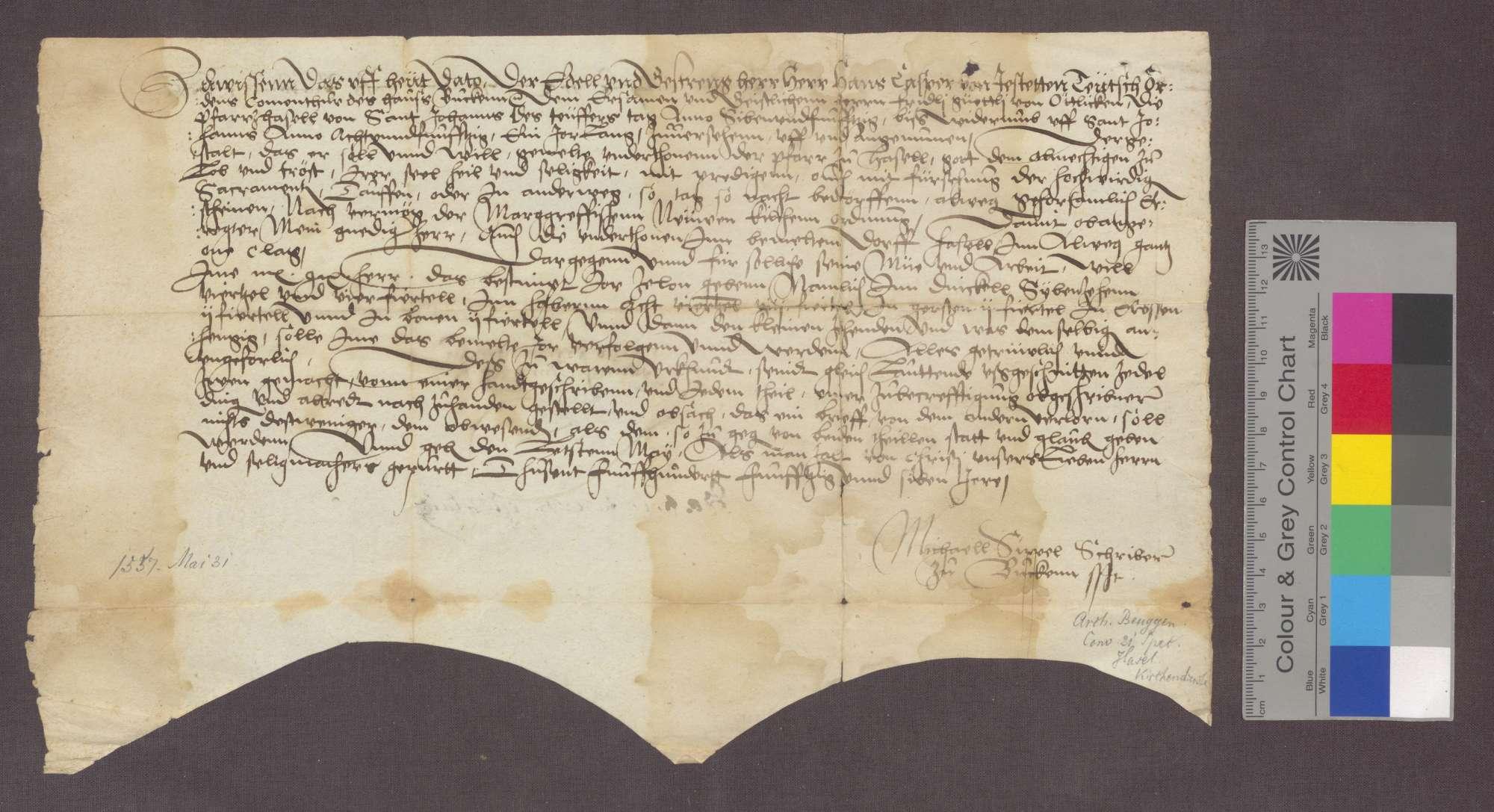 Hans Kaspar von Jestetten, Komtur zu Beuggen, überträgt dem Fridolin Güntli von Oetlikon die Pfarrei zu Hasel für ein Jahr., Bild 1